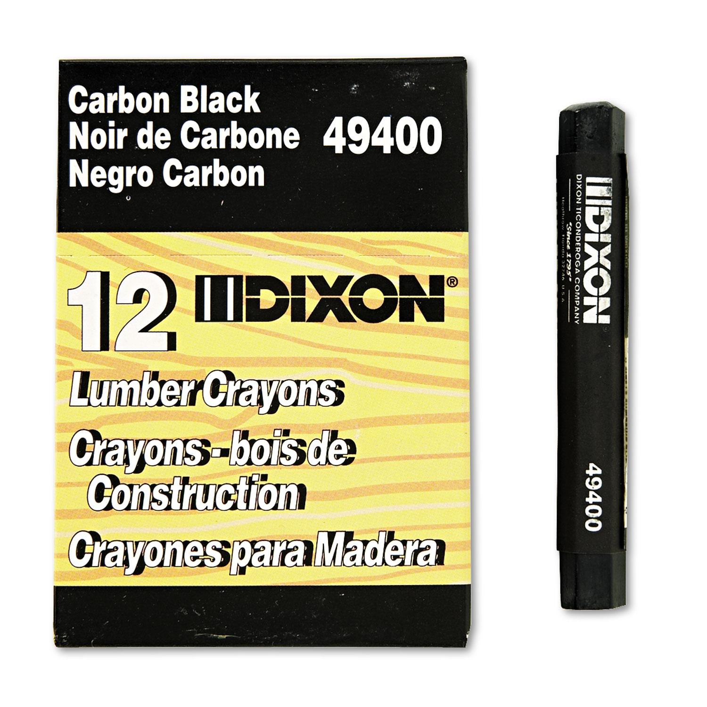Lumber Crayons, 4 1/2 x 1/2, Carbon Black, Dozen