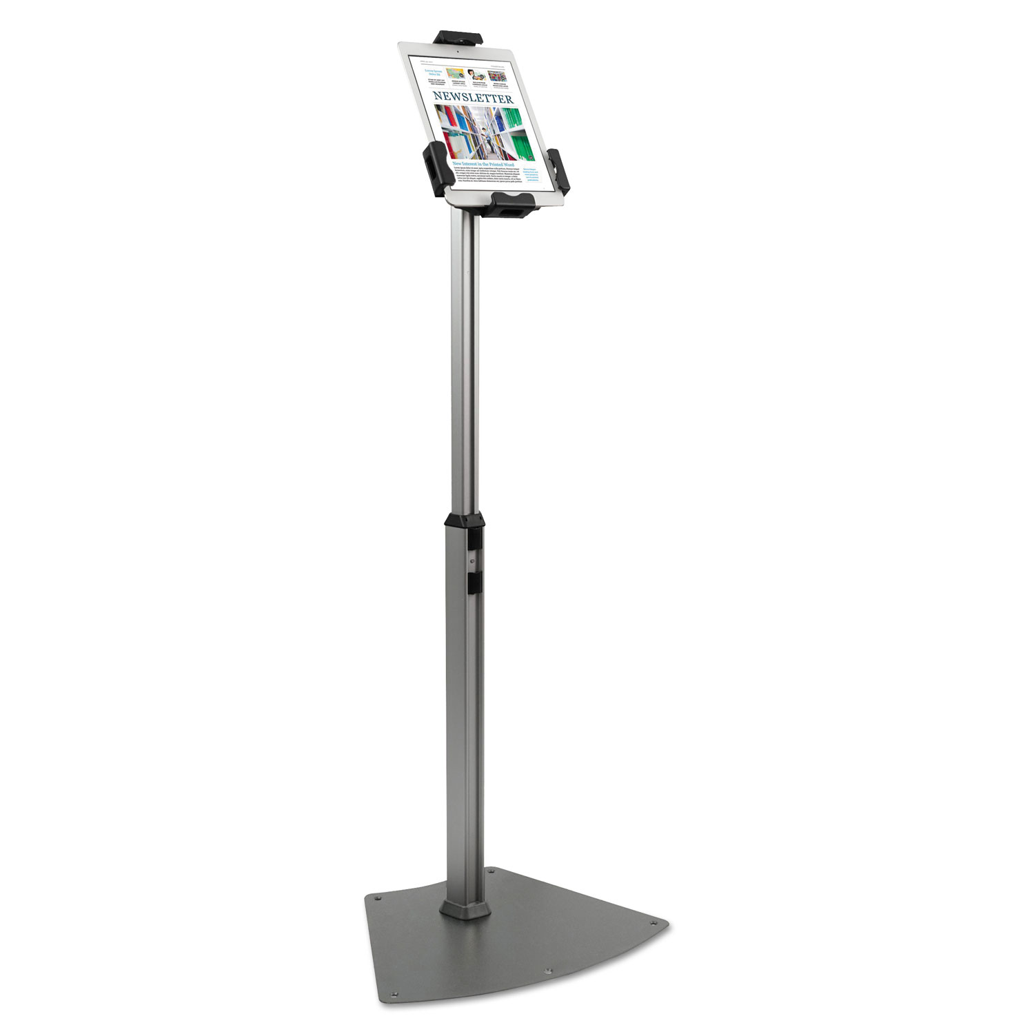 """Tablet Kiosk Floor Stand for 7"""" to 10"""" Tablets, Silver"""
