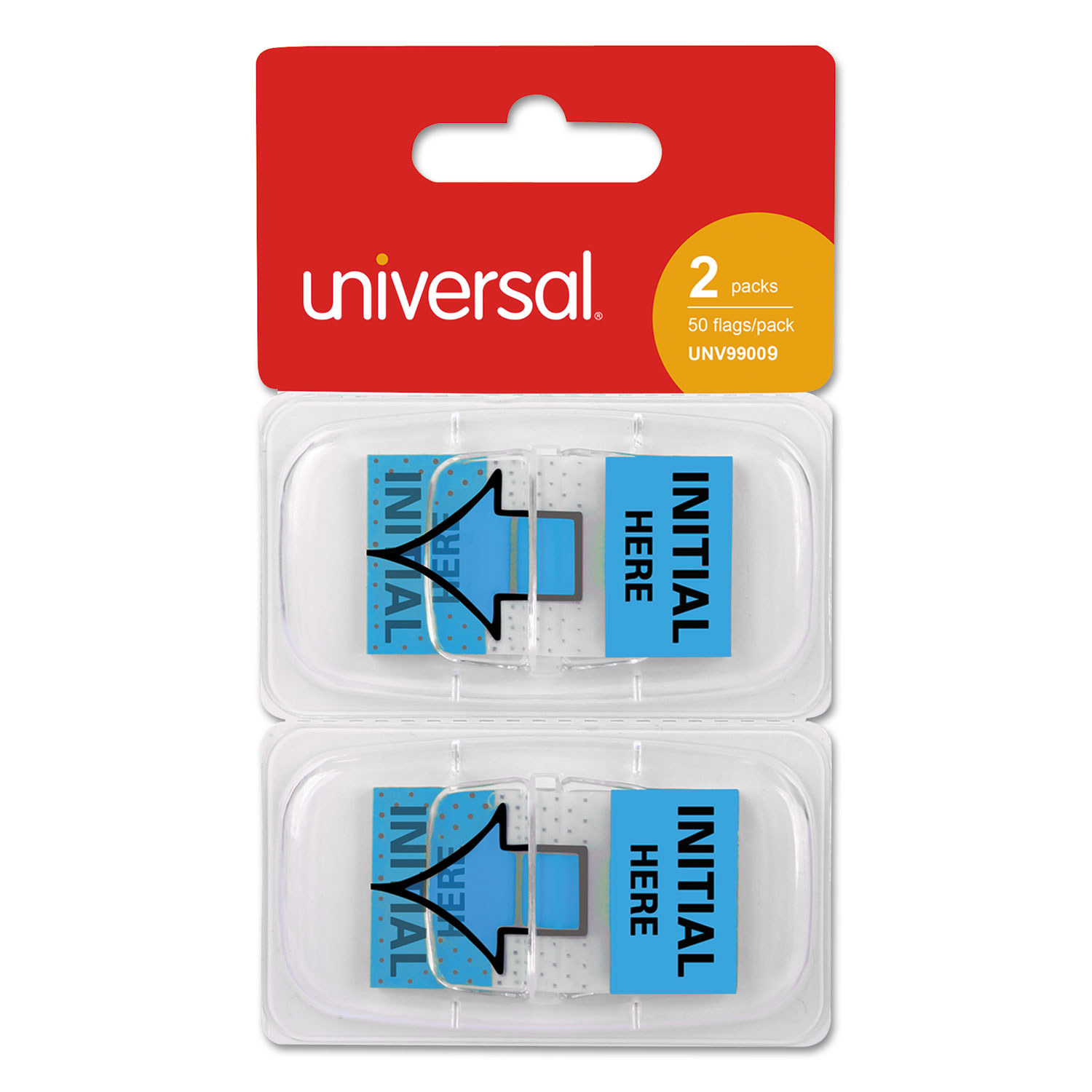 """Deluxe Message Arrow Flags, """"Intital Here"""", Blue, 100/Pack"""