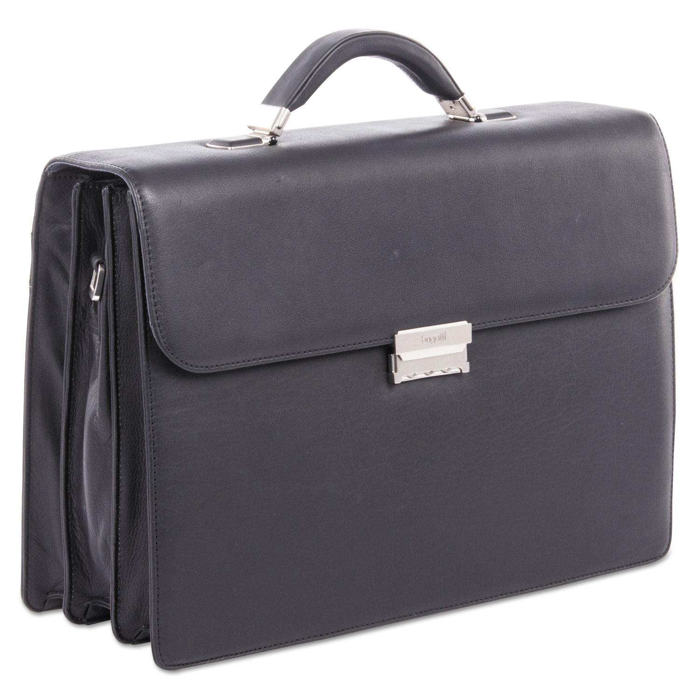 """Sartoria Medium Briefcase, 16.5"""" x 5"""" x 12"""", Leather, Black"""