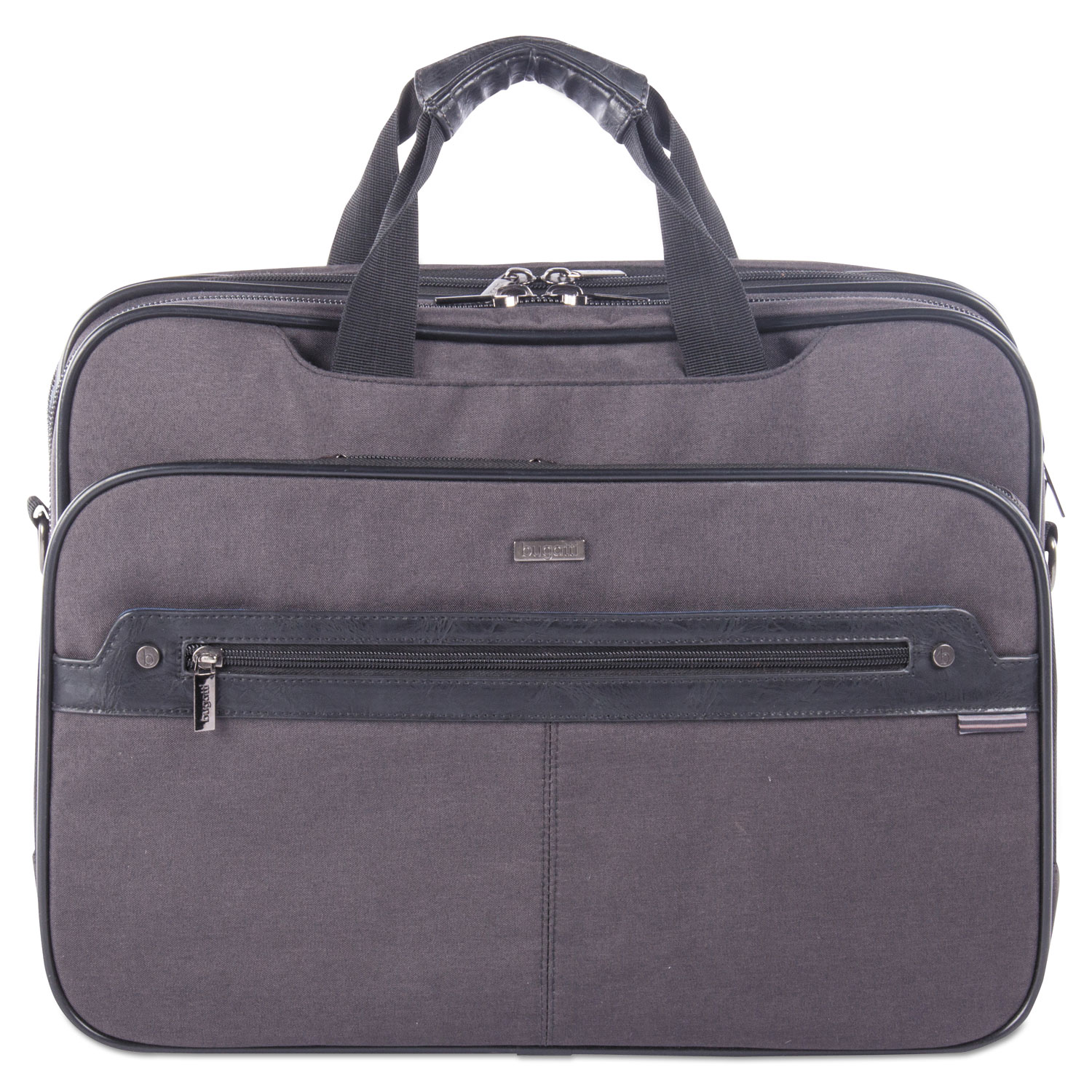 """Harry Executive Briefcase, 16.5"""" x 4.75"""" x 12.5"""", Nylon/Synthetic Leather, Gray"""