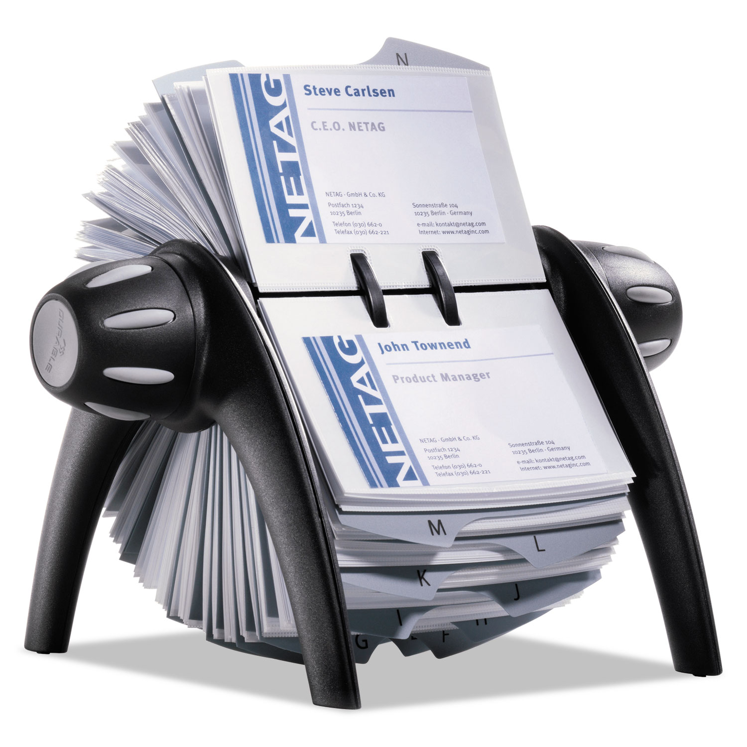 Visifix flip rotary business card file by durable dbl241701 visifix flip rotary business card file holds 400 4 18 x 2 78 cards blacksr reheart Gallery