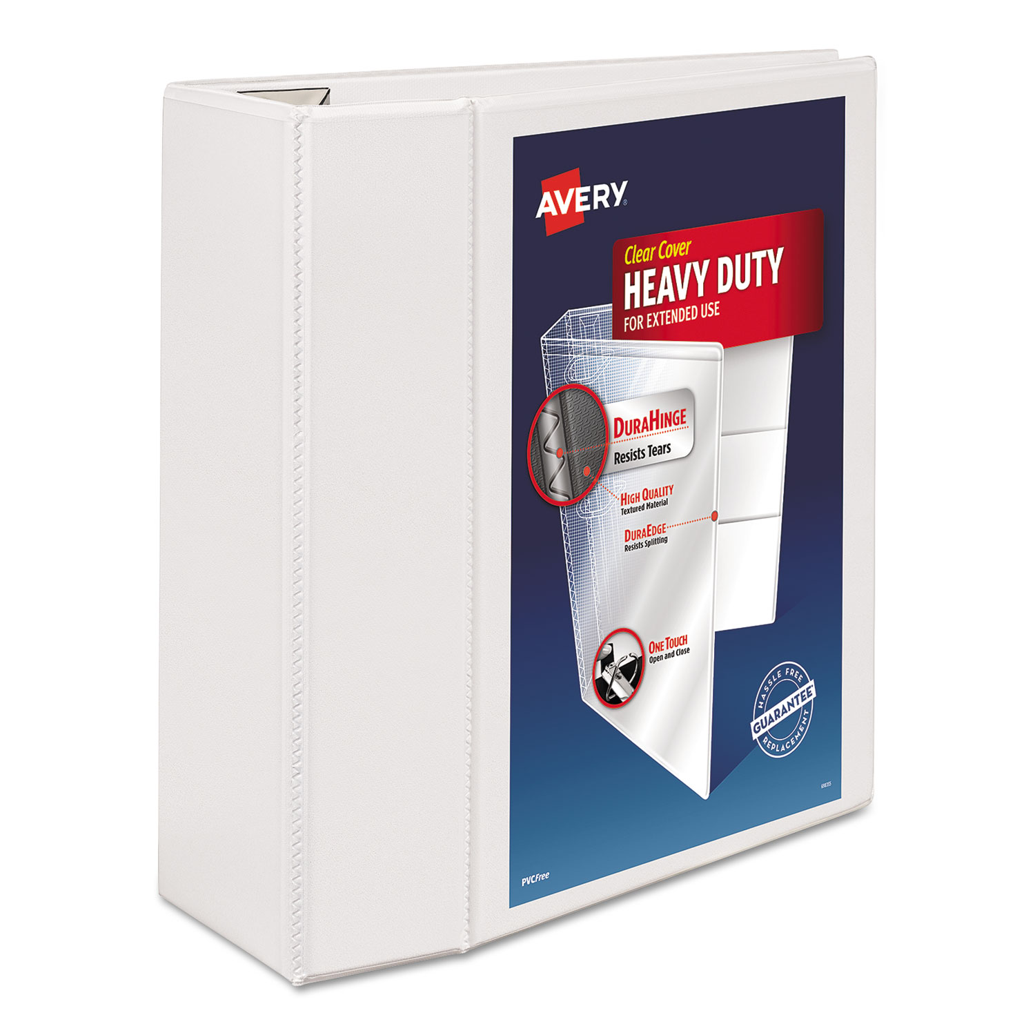"""Heavy-Duty View Binder with DuraHinge and Locking One Touch EZD Rings, 3 Rings, 5"""" Capacity, 11 x 8.5, White"""