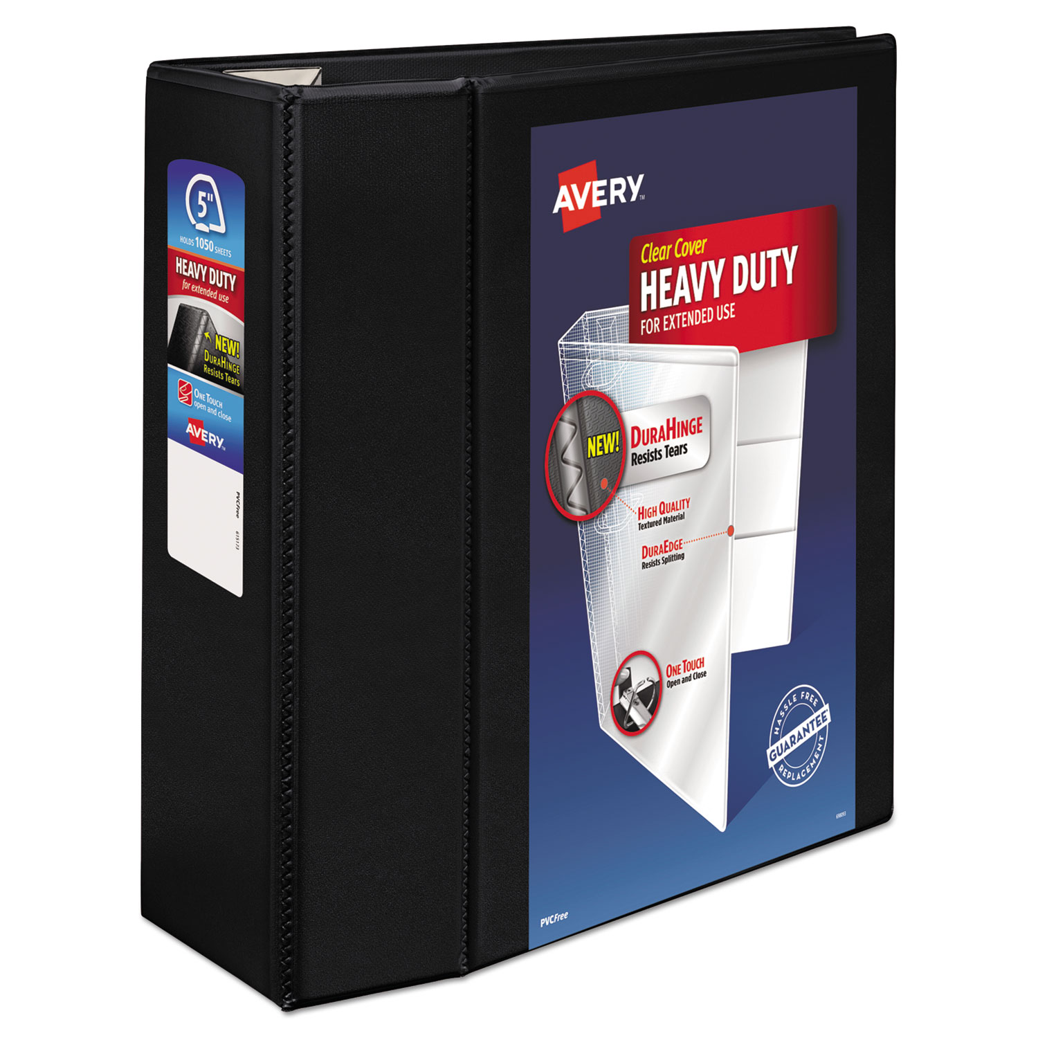 """Heavy-Duty View Binder with DuraHinge and Locking One Touch EZD Rings, 3 Rings, 5"""" Capacity, 11 x 8.5, Black"""