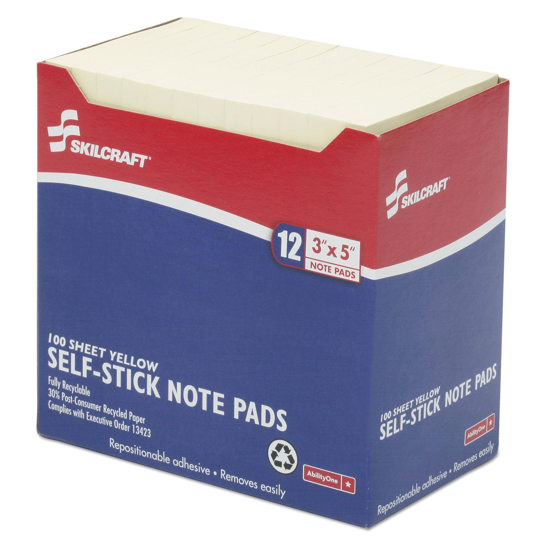 7530011167865, Self-Stick Note Pads, 3 x 5, Unruled, Yellow, 100 Sheets,  Dozen
