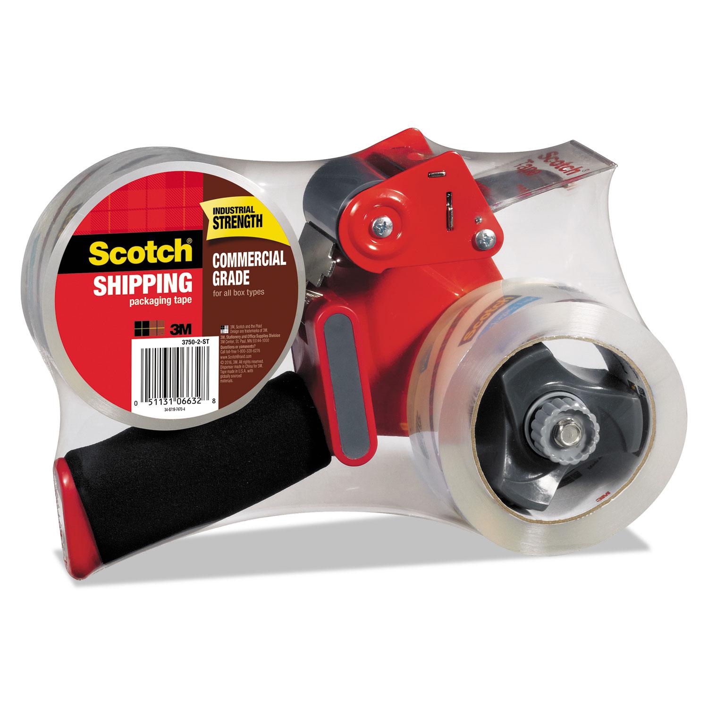 "Scotch H180 Box Sealing Pistol Grip Tape Dispenser 3/"" Core Plastic//Metal Gray"