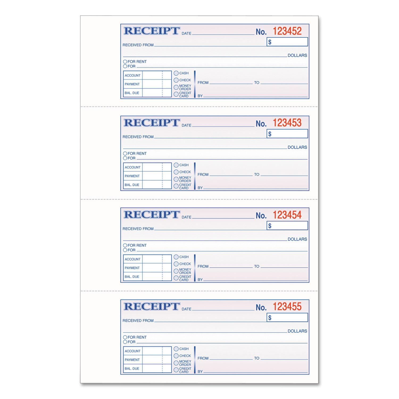 TOPS 3-Part Hardbound Receipt Book, 7 x 2 3/4, Carbonless, 200 Sets/Book