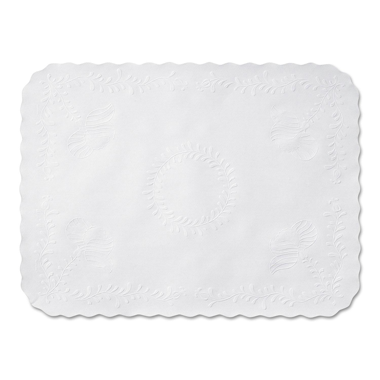 Anniversary Embossed Scalloped Edge Tray Mat, 14 x 19, White, 1,000/Carton