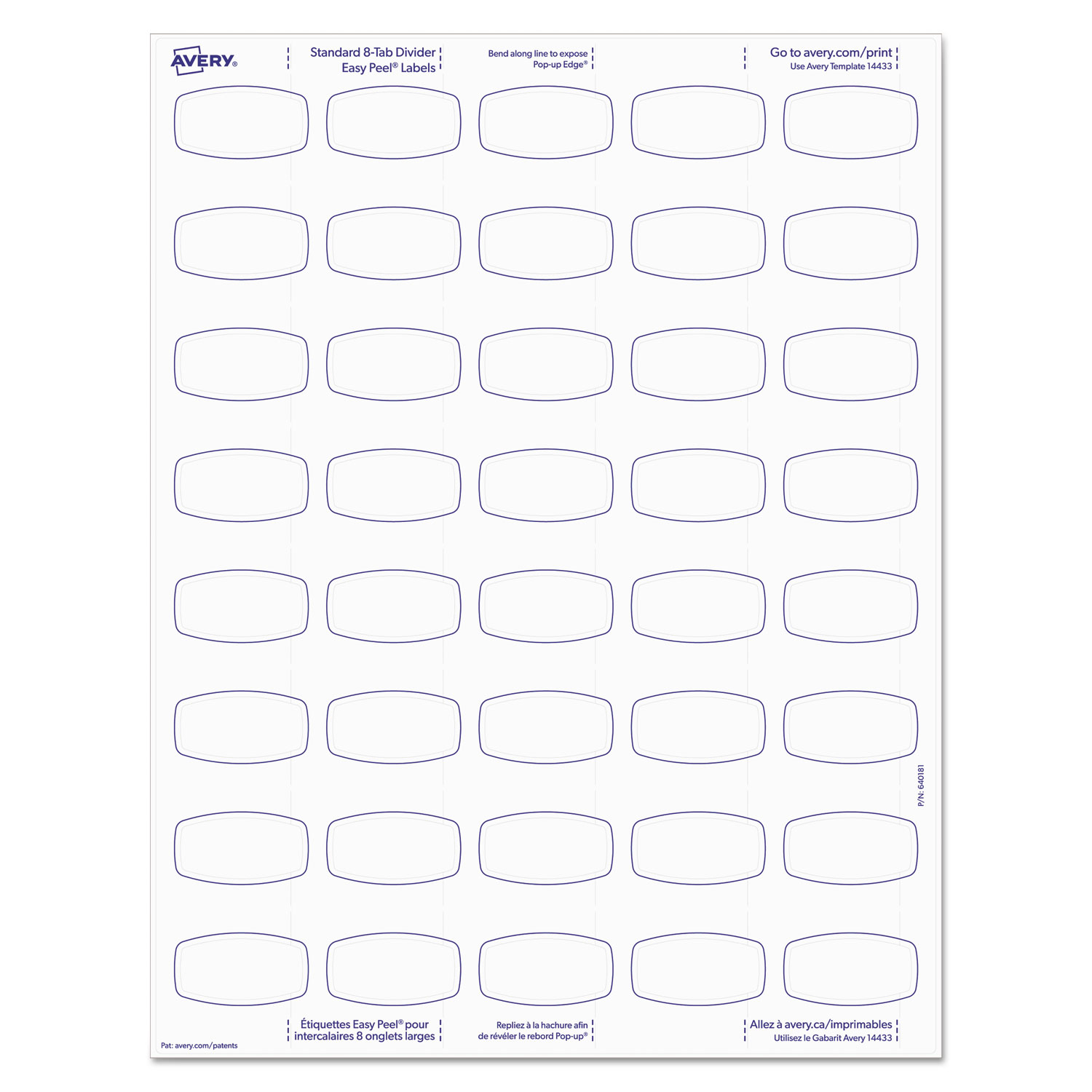 picture relating to Printable Tab Dividers identified as Huge Tab Printable White Label Tab Dividers, 8-Tab, Letter, 20 for every pack