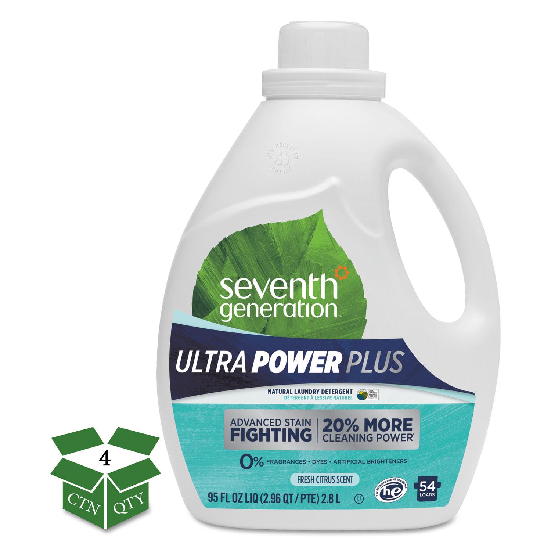 Natural Liquid Laundry Detergent, Ultra Power Plus, Fresh, 54 Loads, 95 oz, 4/CT