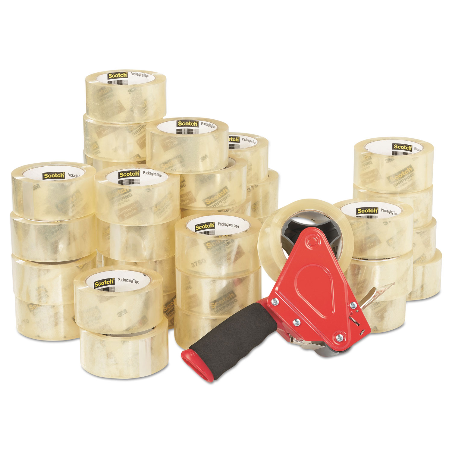 """3750 Commercial Grade Packaging Tape with ST-181 Pistol-Grip Dispenser, 3"""" Core, 1.88"""" x 54.6 yds, Clear, 36/Carton"""
