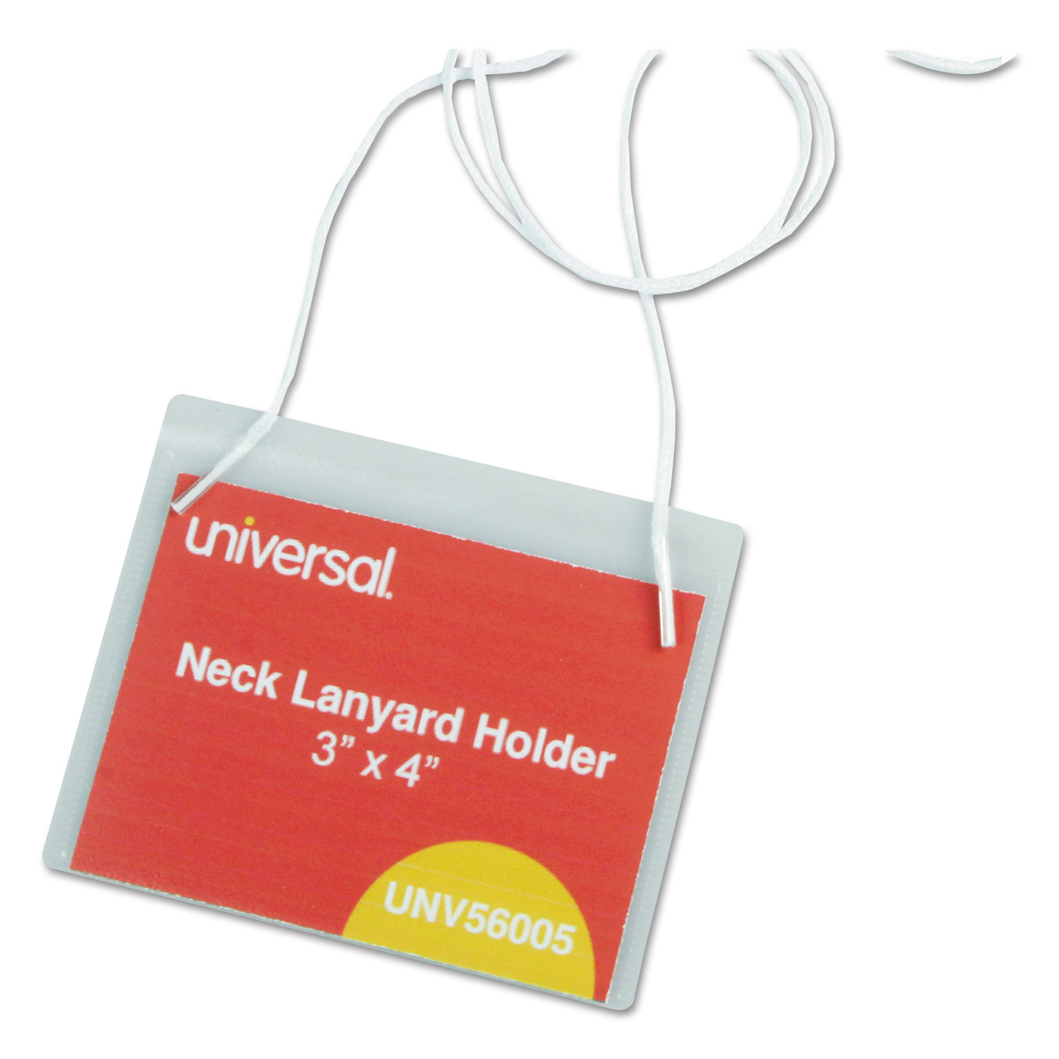 Clear Badge Holders w/Neck Lanyards, 3 x 4, White Inserts, 100/Box