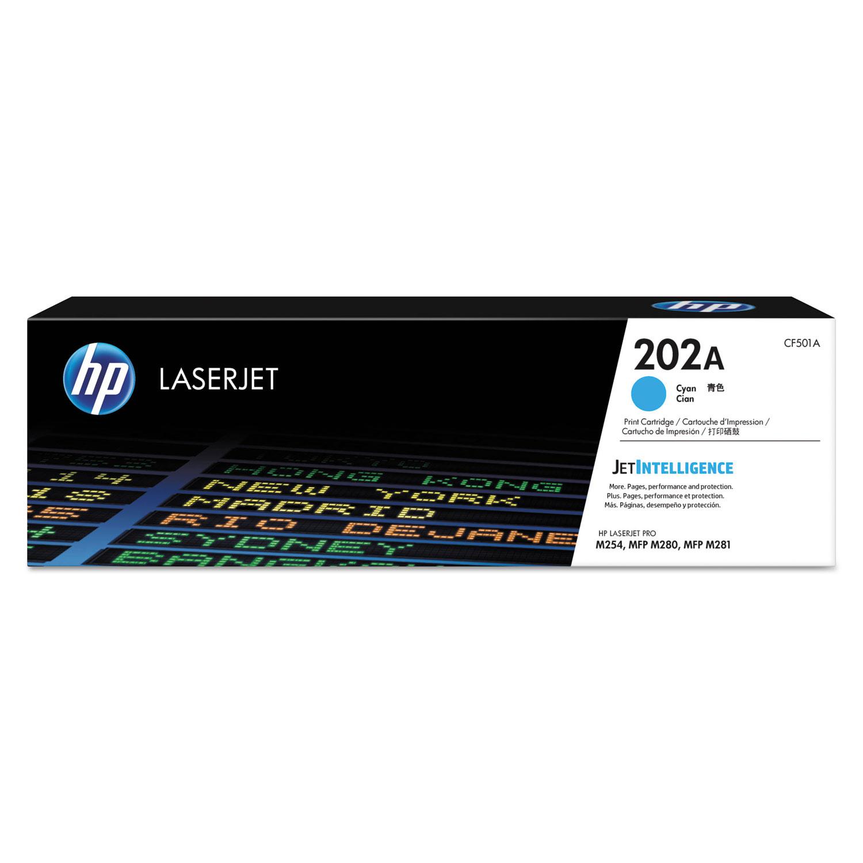 HP 202A CF501A Cyan Original Toner, 1300 Page-Yield