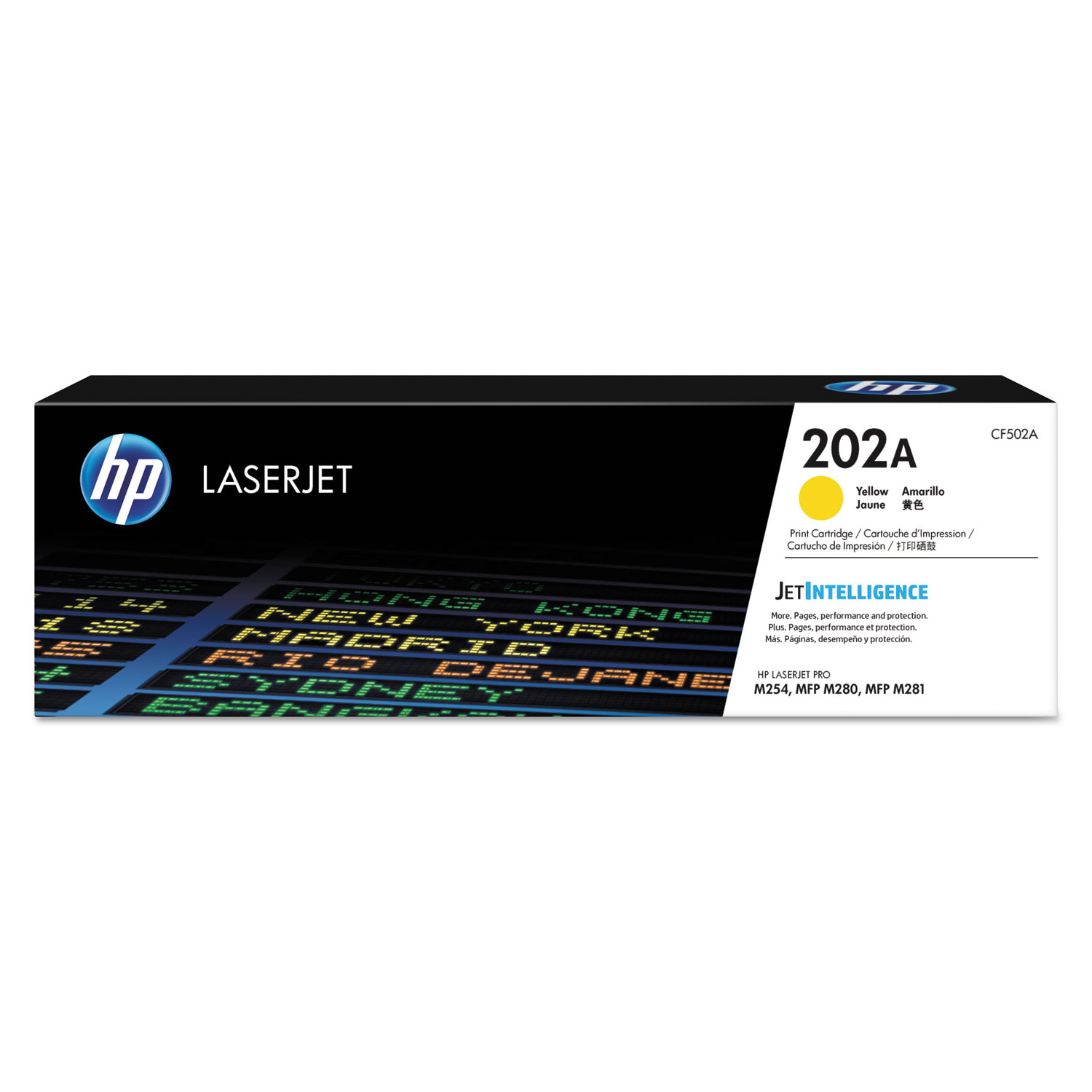 HP 202A CF502A Yellow Original Toner, 1300 Page-Yield
