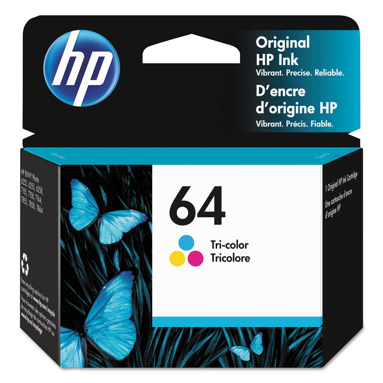 HP 64, (N9J89AN) Tri-Color Original Ink Cartridge