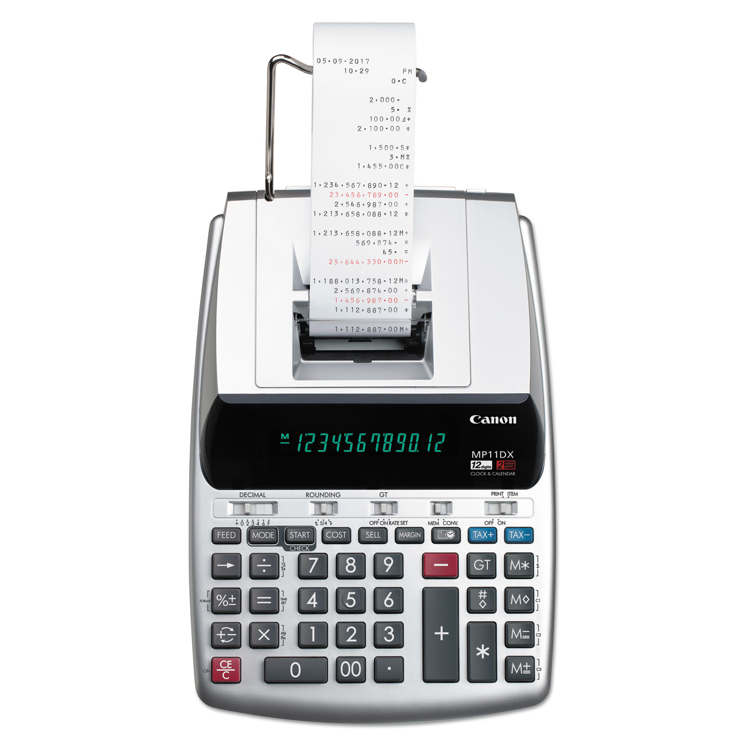 MP11DX-2 Printing Calculator, Black/Red Print, 3.7 Lines/Sec