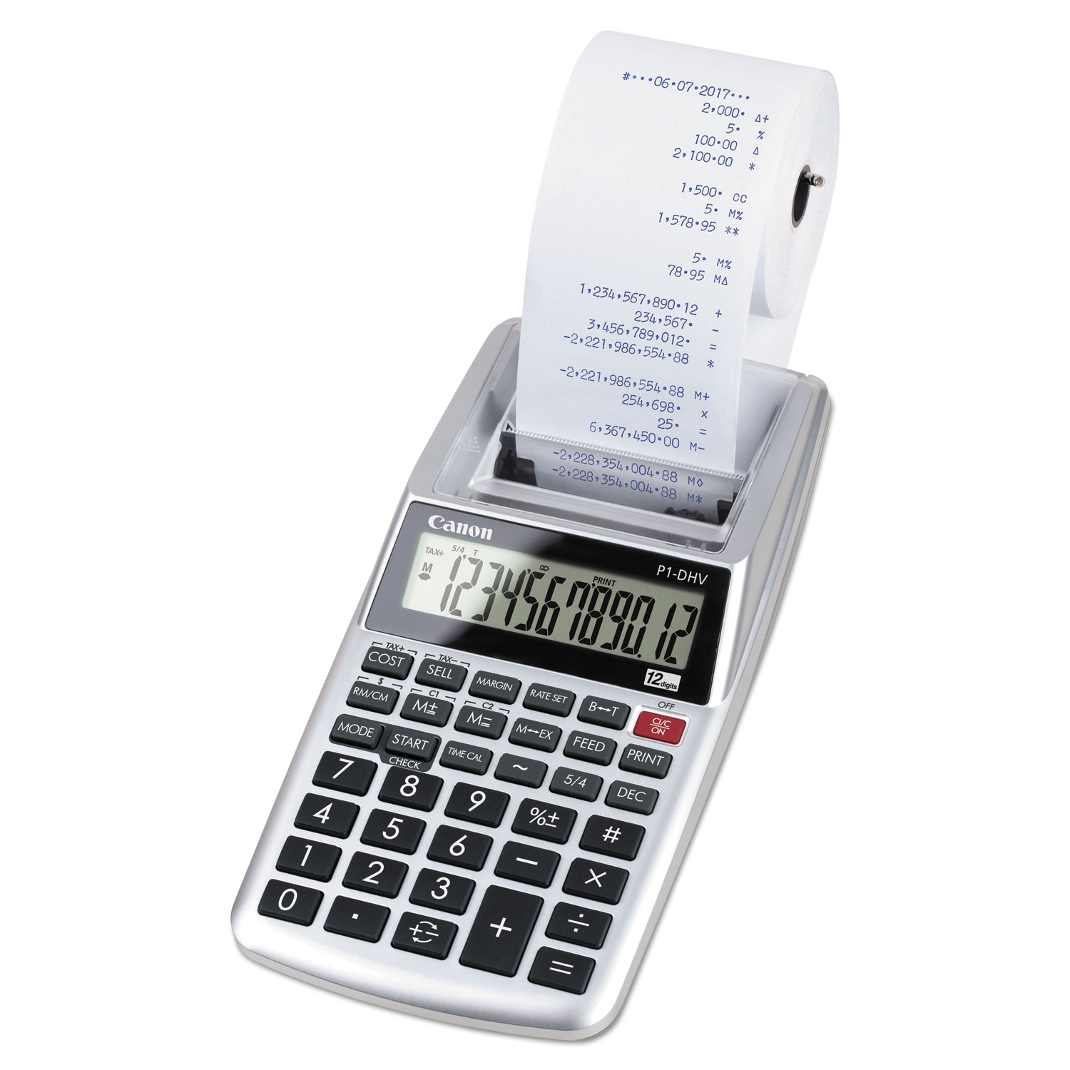 P1-DHV 12-Digit Palm Printing Calculator, Purple Print, 2 Lines/Sec