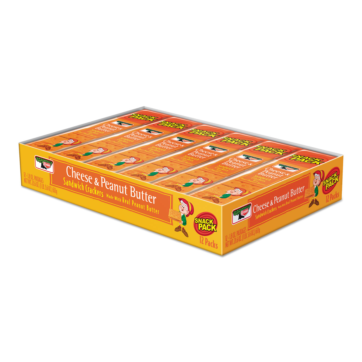 Sandwich Crackers, Cheese and Peanut Butter, 8-Piece Snack Pack, 12/Box