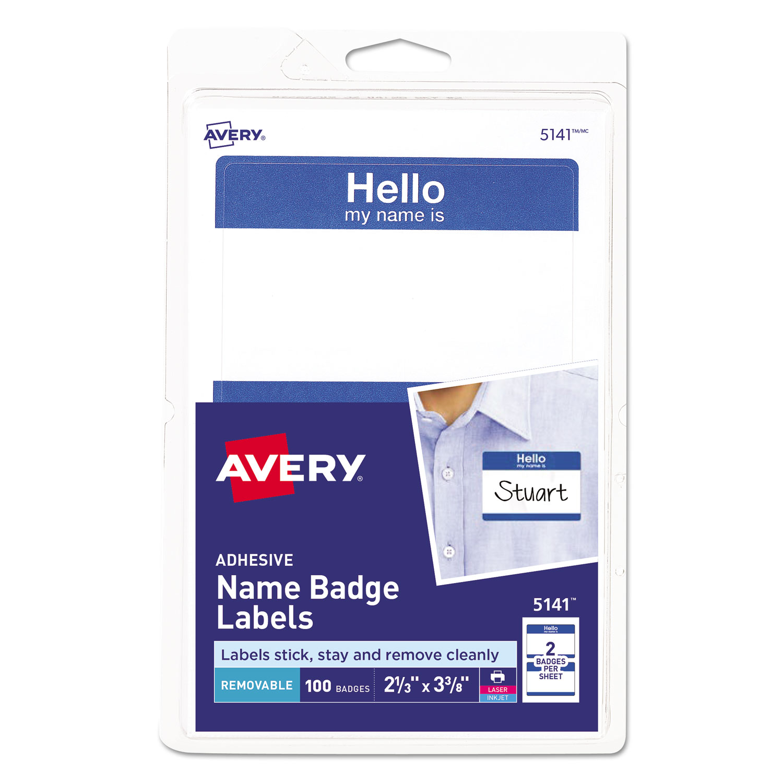 "Printable Adhesive Name Badges, 3.38 x 2.33, Blue ""Hello"", 100/Pack"
