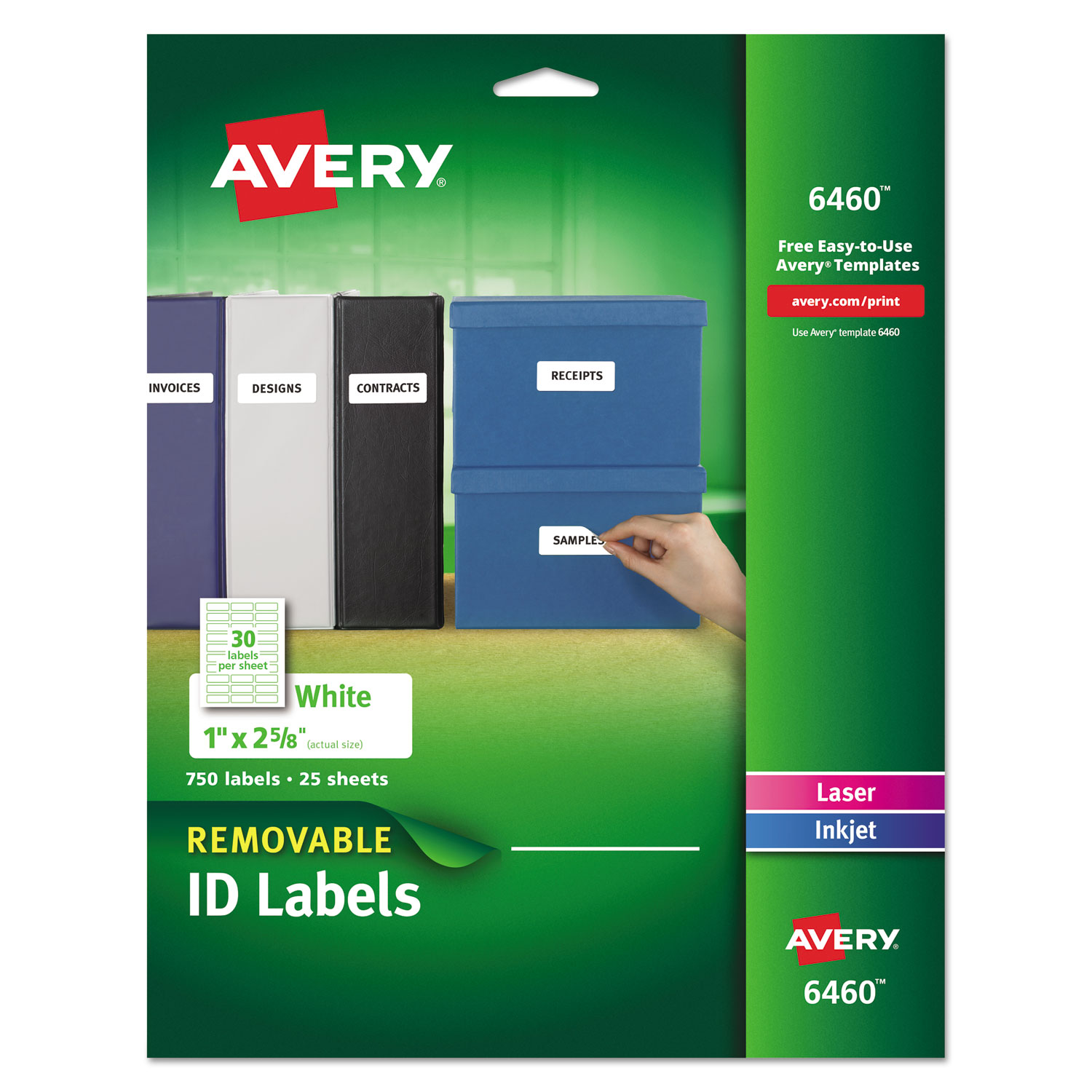 Removable Multi-Use Labels, Inkjet/Laser Printers, 1 x 2.63, White, 30/Sheet, 25 Sheets/Pack AVE6460