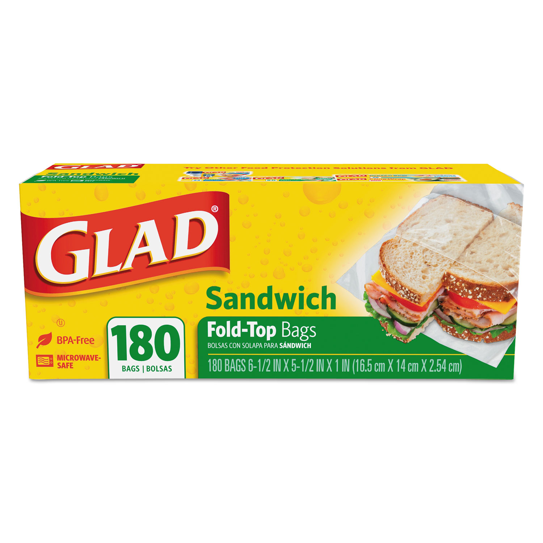 "Fold-Top Sandwich Bags, 6.5"" x 5.5"", Clear, 180/Box"