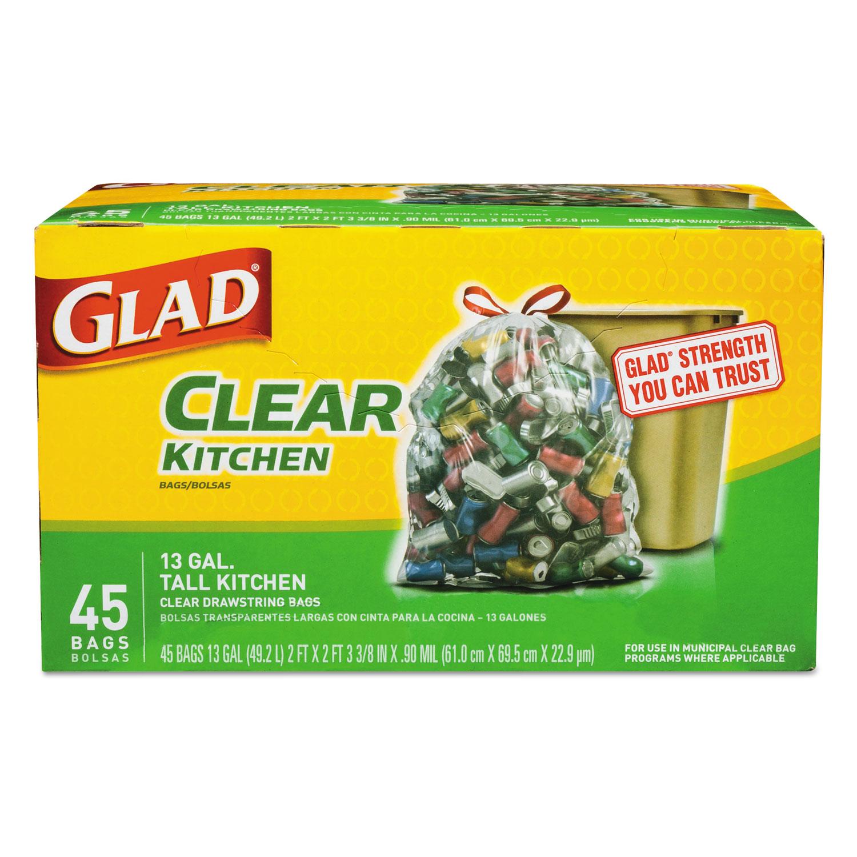 "Recycling Tall Kitchen Drawstring Trash Bags, 13 gal, 0.9 mil, 24"" x 27.38"", Clear, 45/Box"