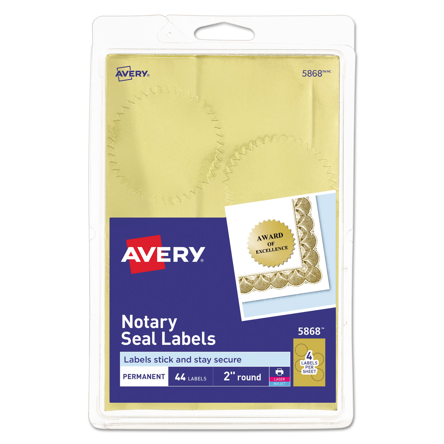 Printable Gold Foil Seals By Avery® AVE05868