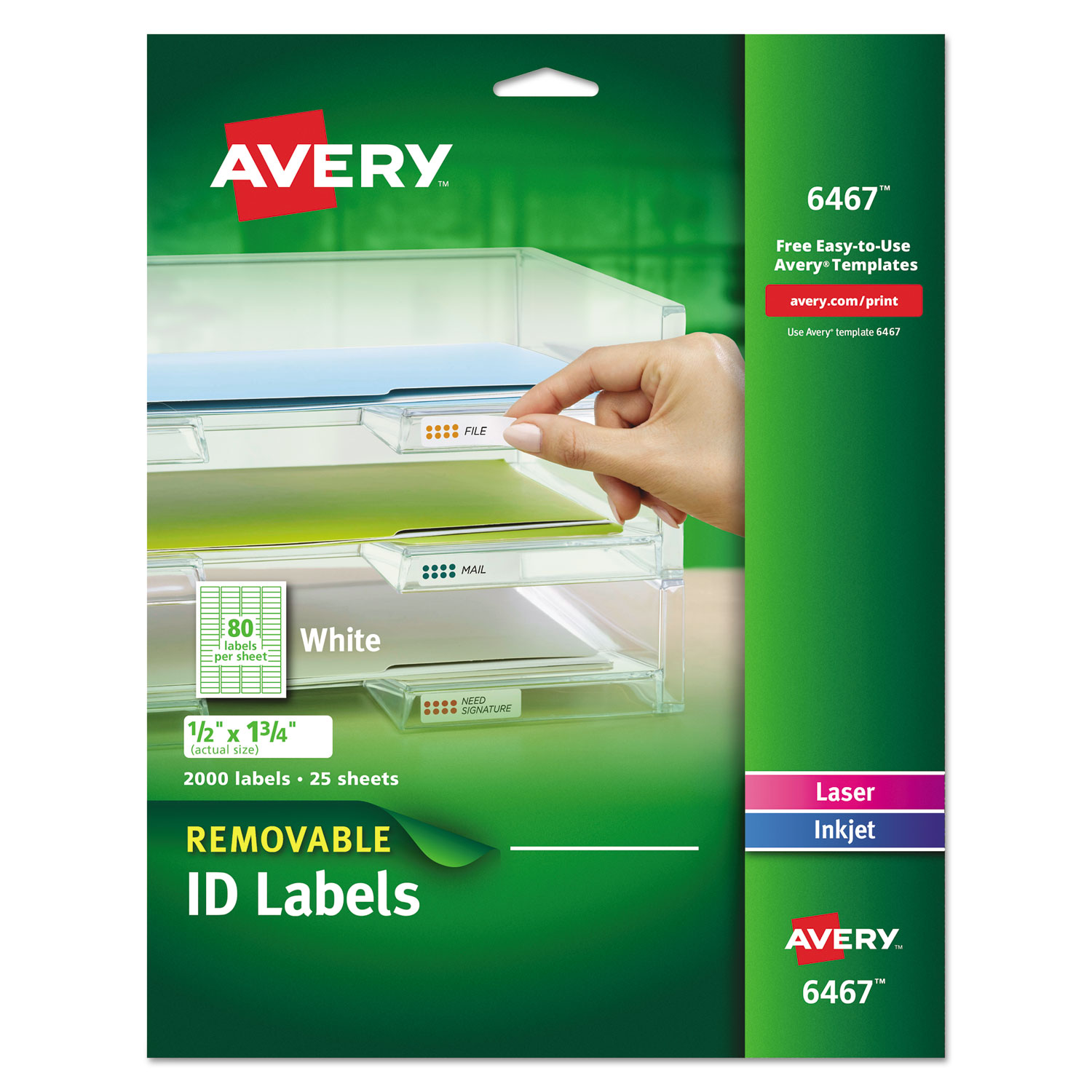 Removable Multi-Use Labels, Inkjet/Laser Printers, 0.5 x 1.75, White, 80/Sheet, 25 Sheets/Pack AVE6467