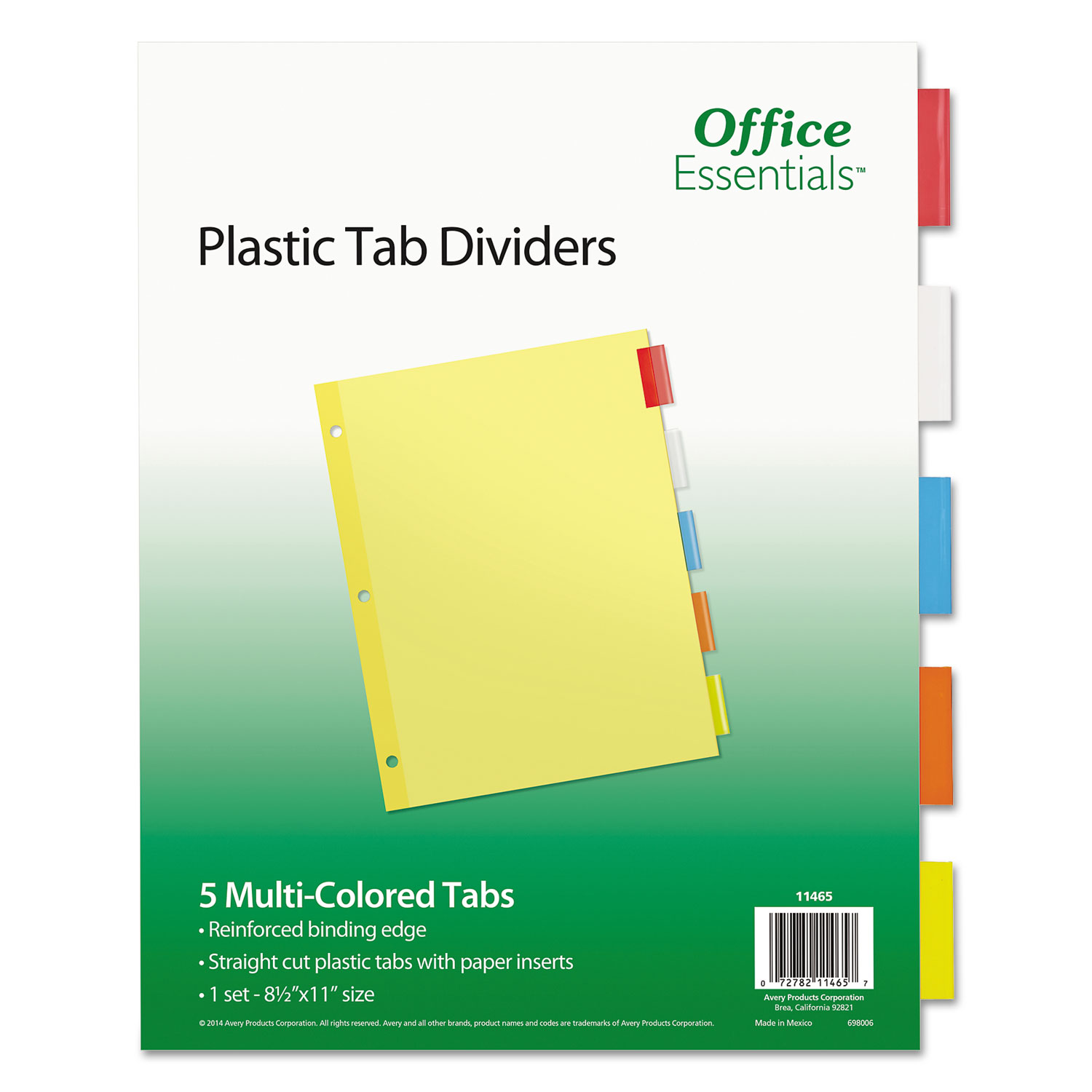 """5 Sets Plastic Clear Tab Binder Dividers 8-1//2/"""" x 11/"""" Office Supplies 5 Tabs//Set"""