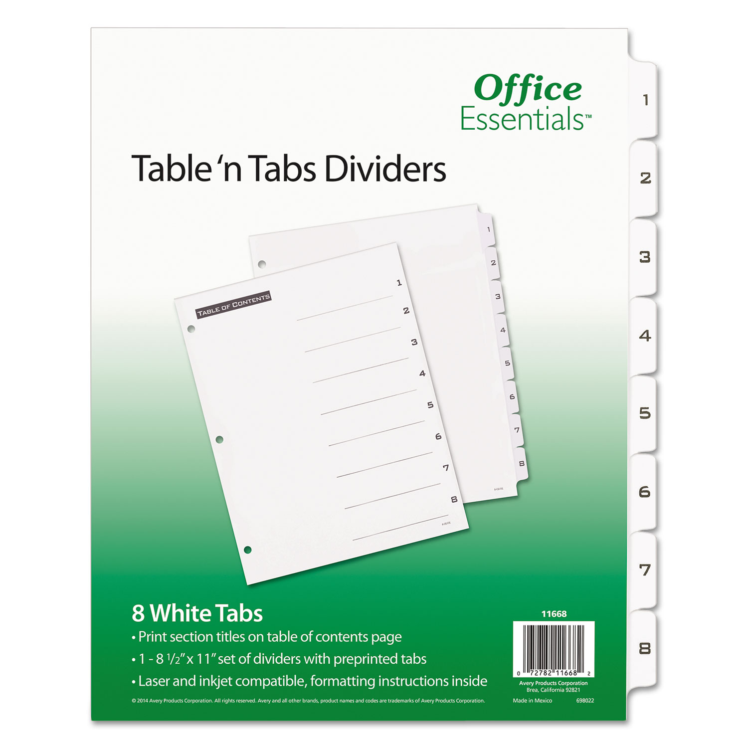 Table 'n Tabs Dividers, 8-Tab, 1 to 8, 11 x 8.5, White, 1 Set