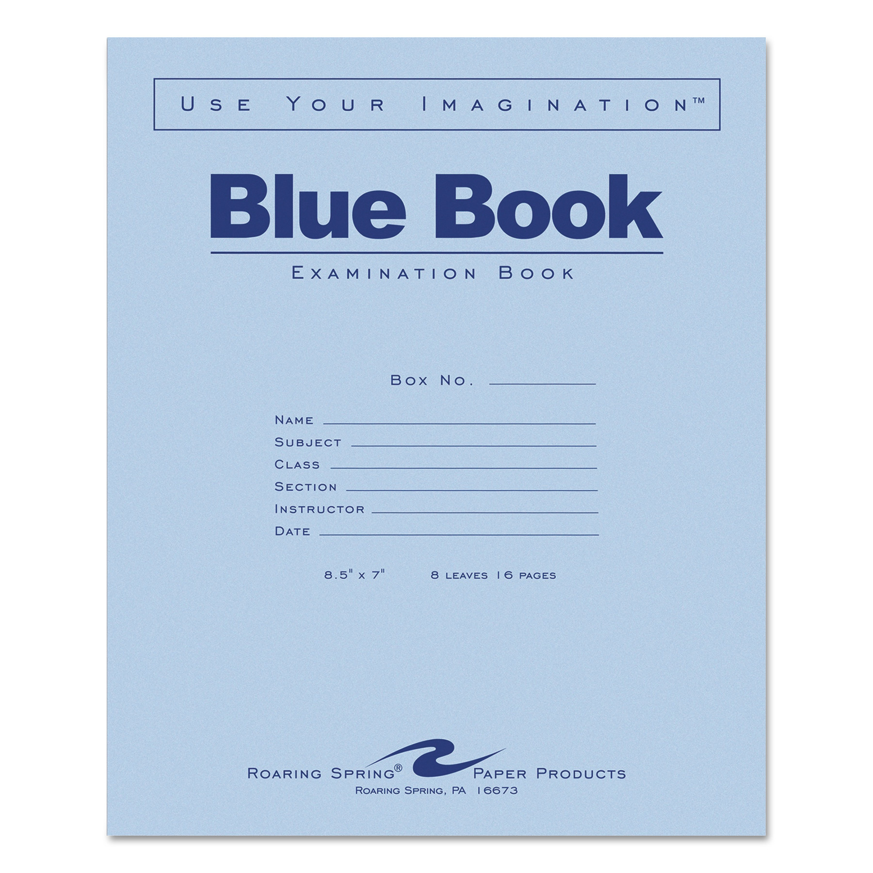 Examination Blue Book, Wide/Legal Rule, 8.5 x 7, White, 8 Sheets