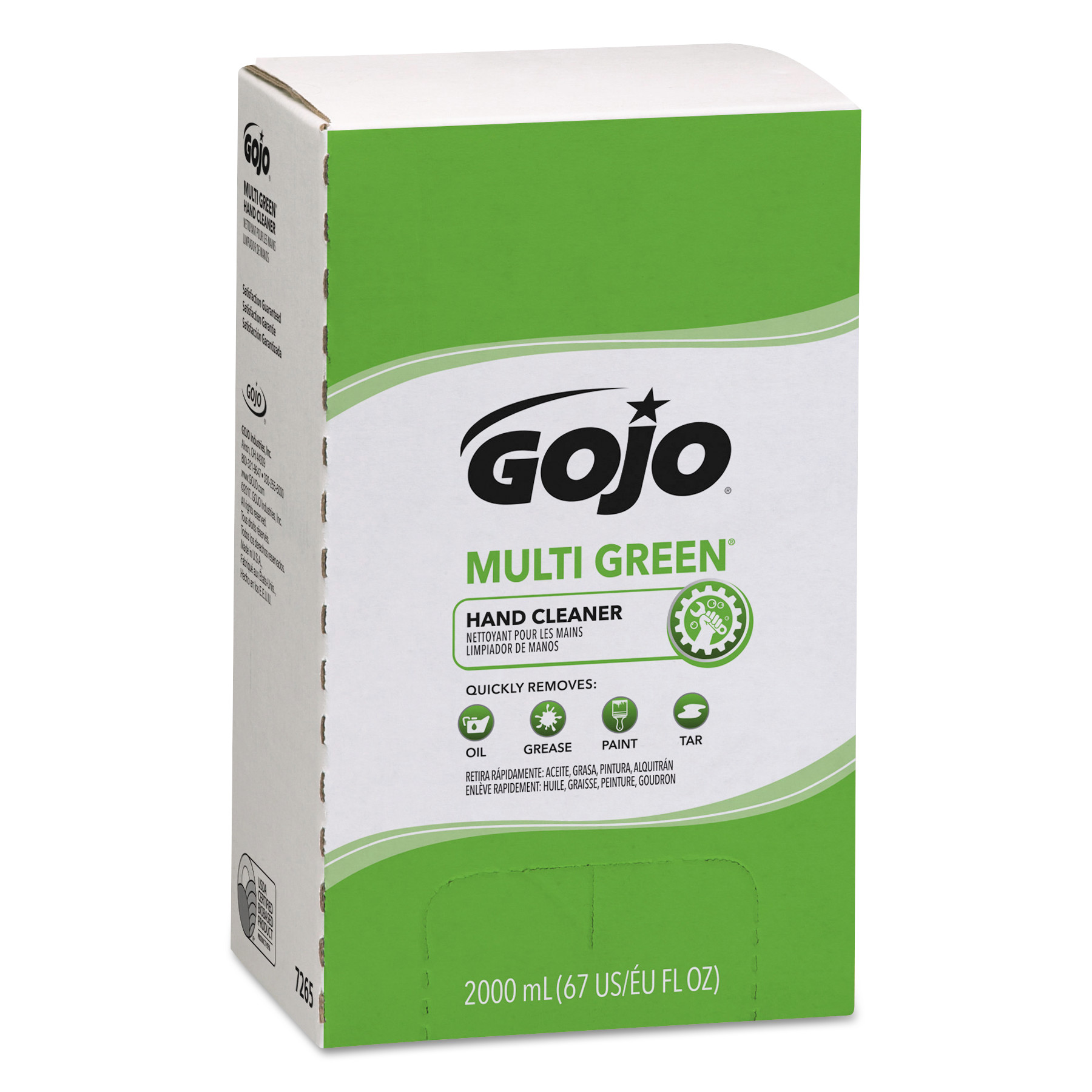 MULTI GREEN Hand Cleaner Refill, 2000mL, Citrus Scent, Green, 4/Carton