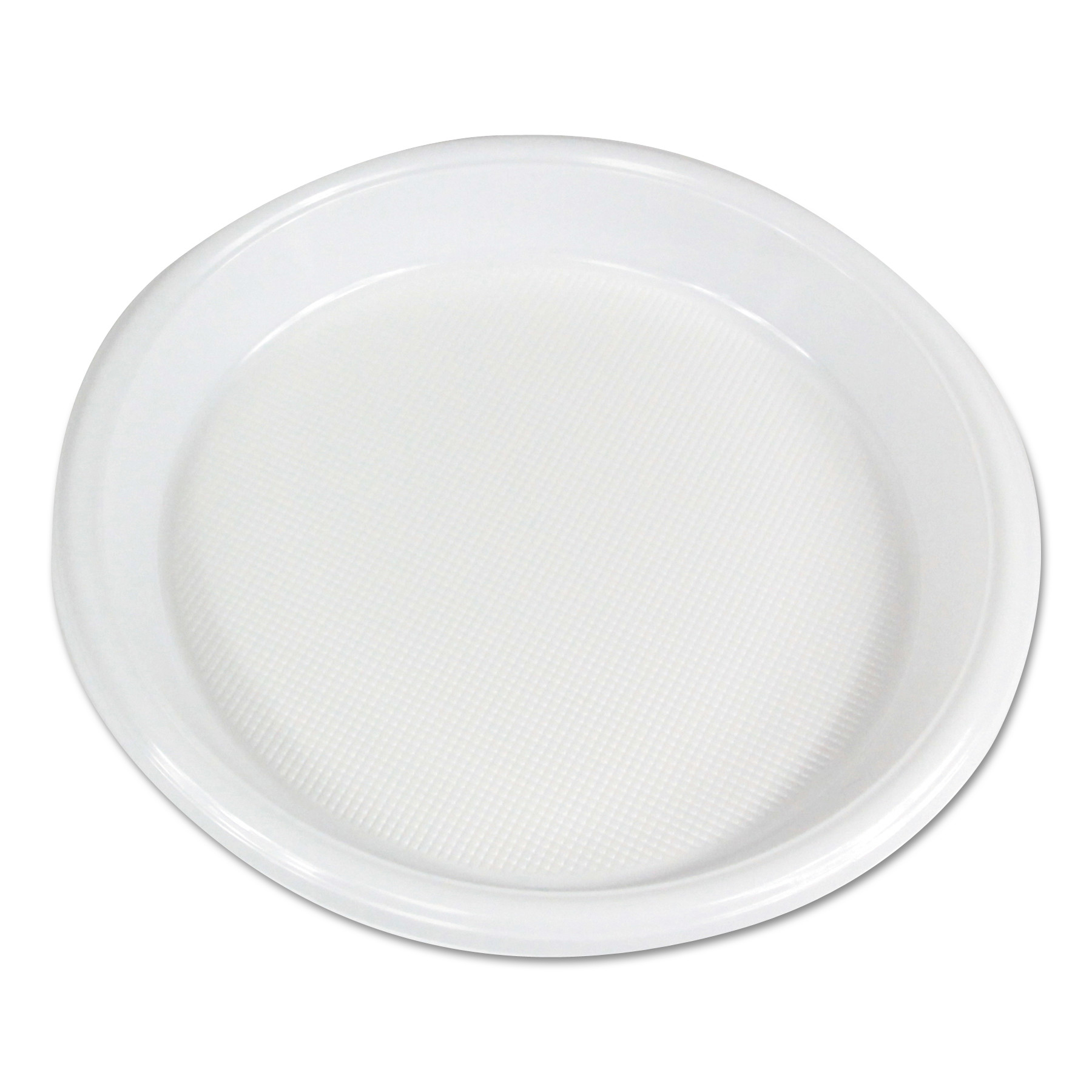 "Hi-Impact Plastic Dinnerware, Plate, 10"" Diameter, White, 500/Carton"