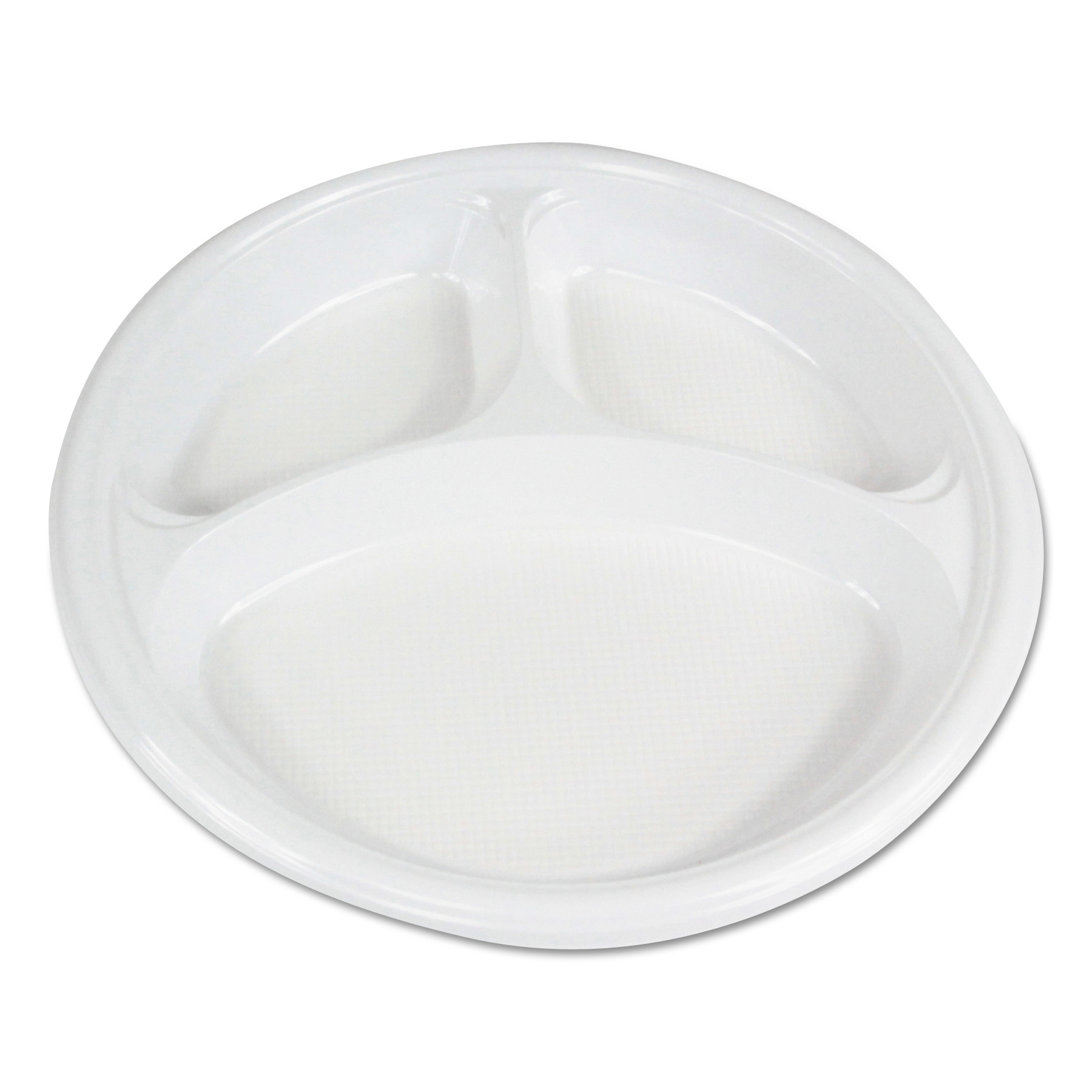 "Hi-Impact Plastic Dinnerware, Plate, 10"" Dia., 3 Compartments, White, 500/Carton"