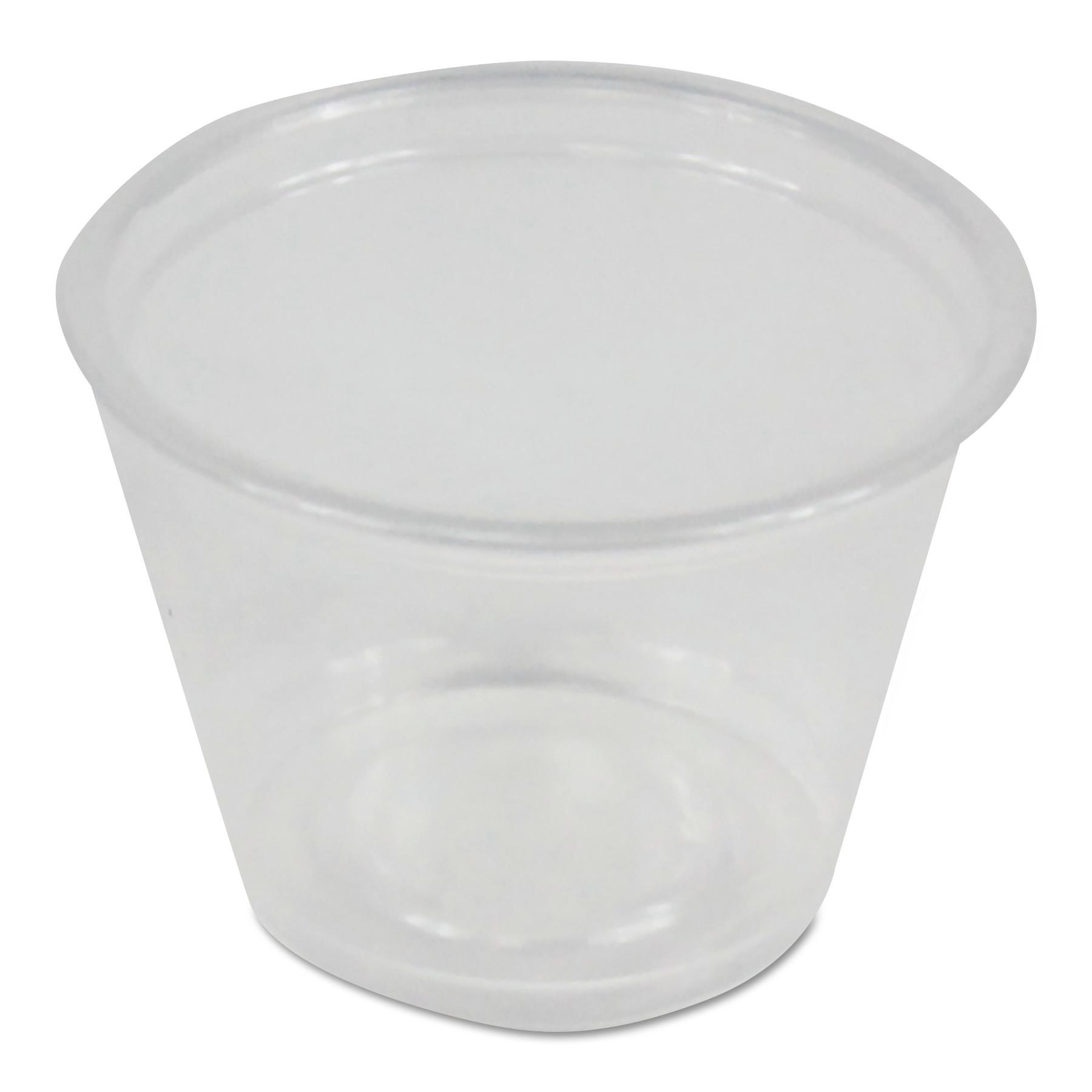Soufflé/Portion Cups, 1 oz, Polypropylene, Clear, 20 Cups/Sleeve, 125 Sleeves/Carton