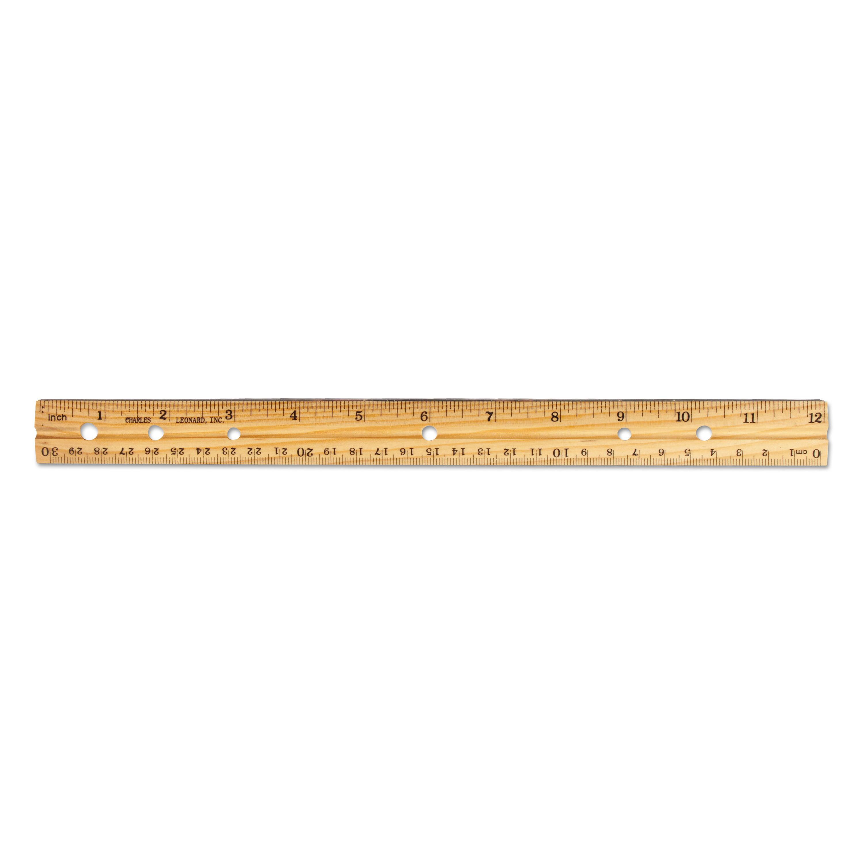 Beveled Wood Ruler W/Single Metal Edge, 3-Hole Punched, 12