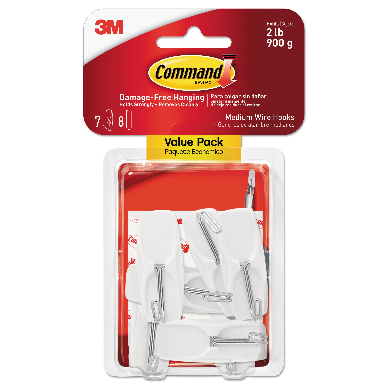 Command General Purpose Hooks 3lb Capacity Plastic White 20 Hooks 24 Strips//Pack