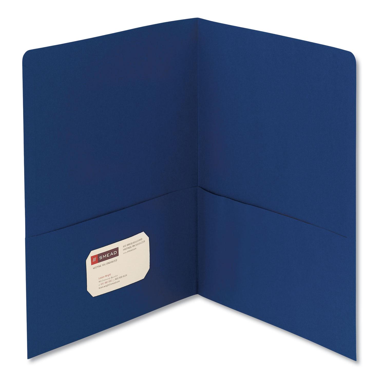 Two-Pocket Folder, Textured Paper, Dark Blue, 25/Box