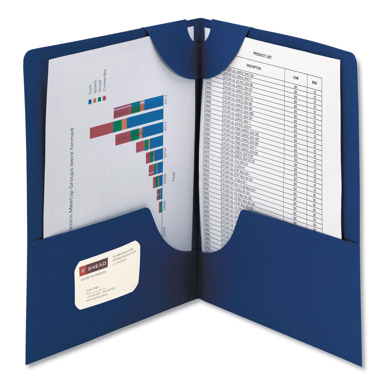 Lockit Two-Pocket Folder, Textured Paper, 11 x 8 1/2, DK Blue, 25/BX