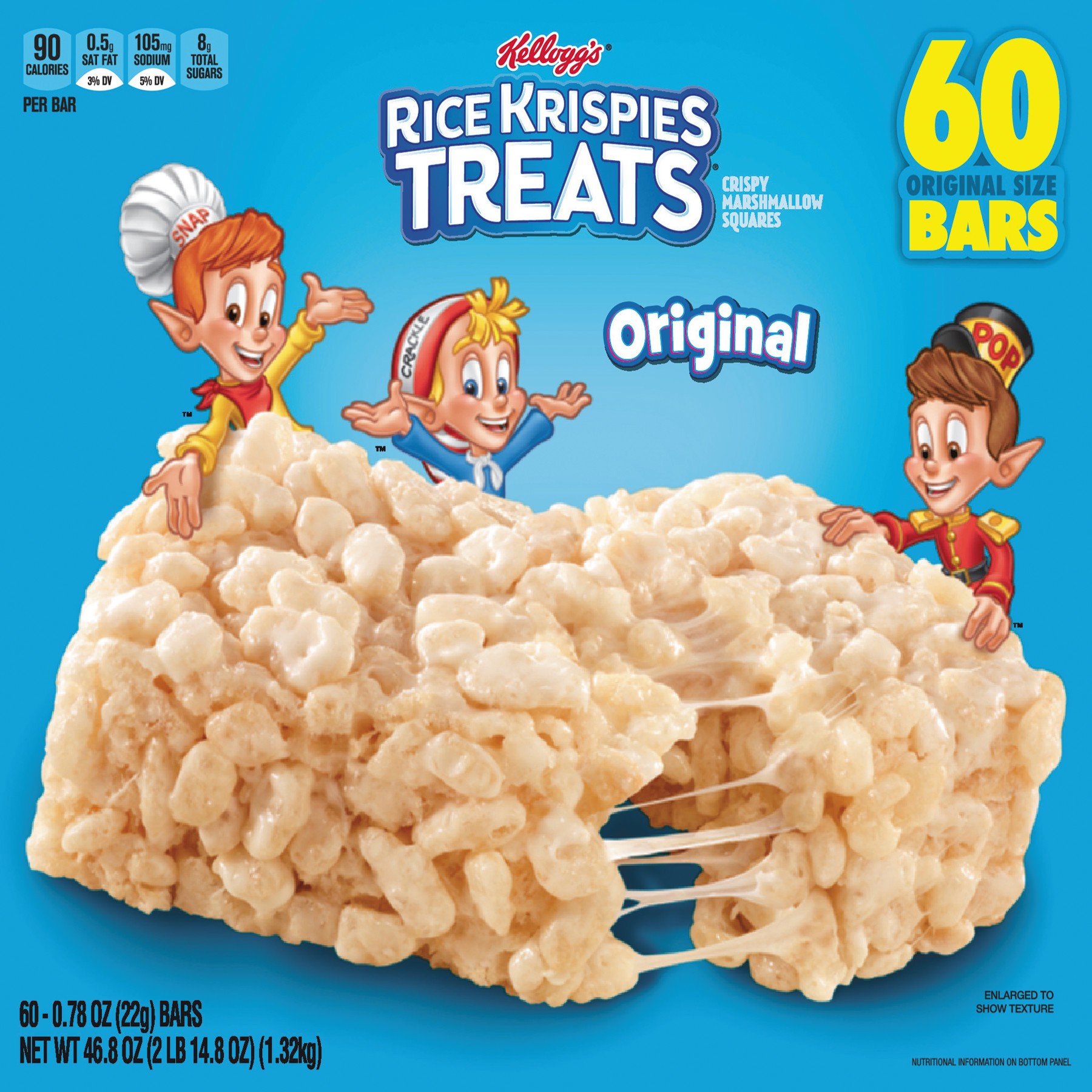 Rice Krispies Treats, Original Marshmallow, 0.78 oz Pack, 60/Carton