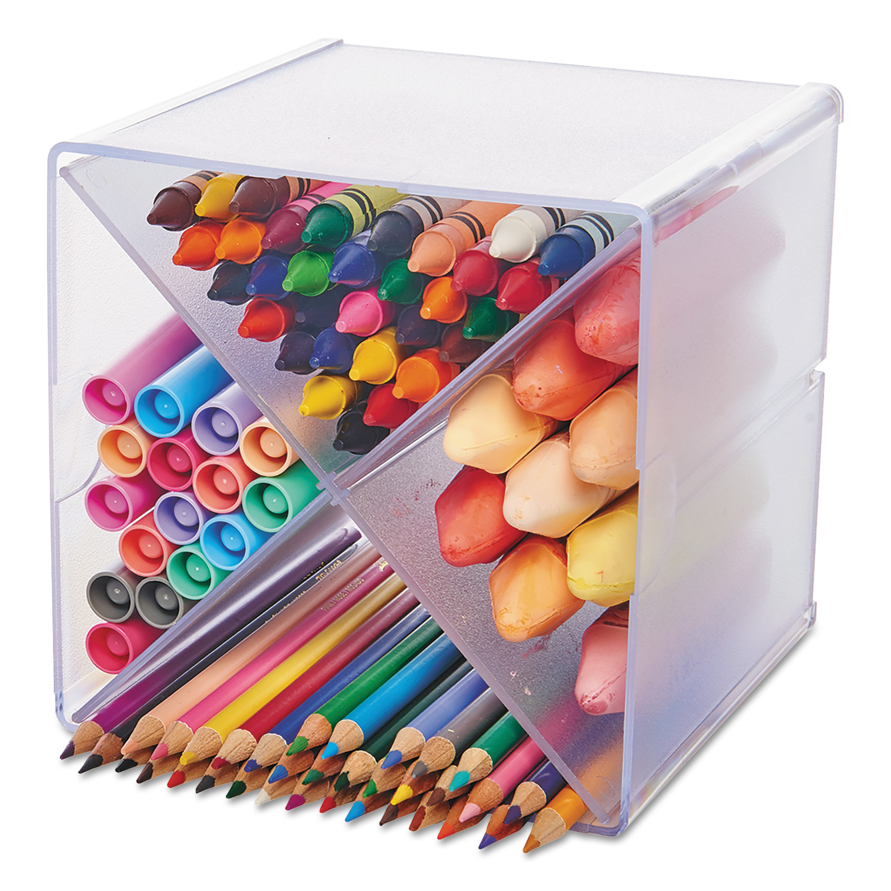 Stackable Cube Organizer, X Divider, 6 x 7 1/8 x 6, Clear