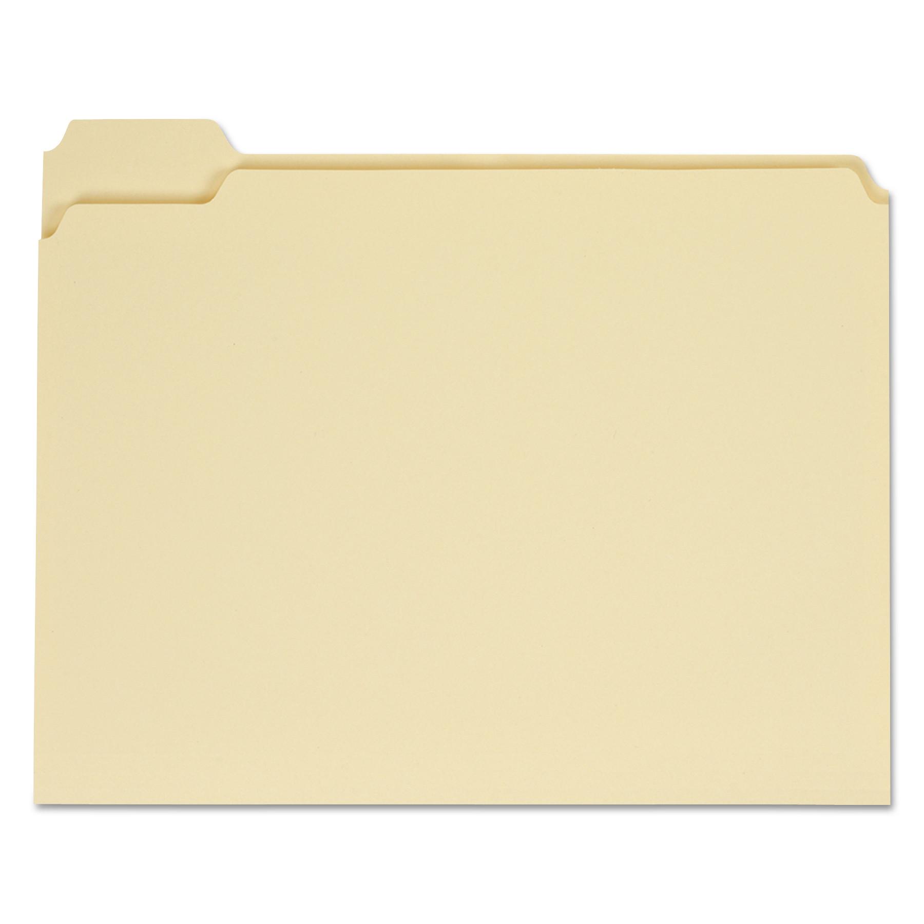 Top Tab Manila File Folders, 1/5-Cut Tabs, Assorted Positions, Letter Size, 11 pt. Manila, 100/Box