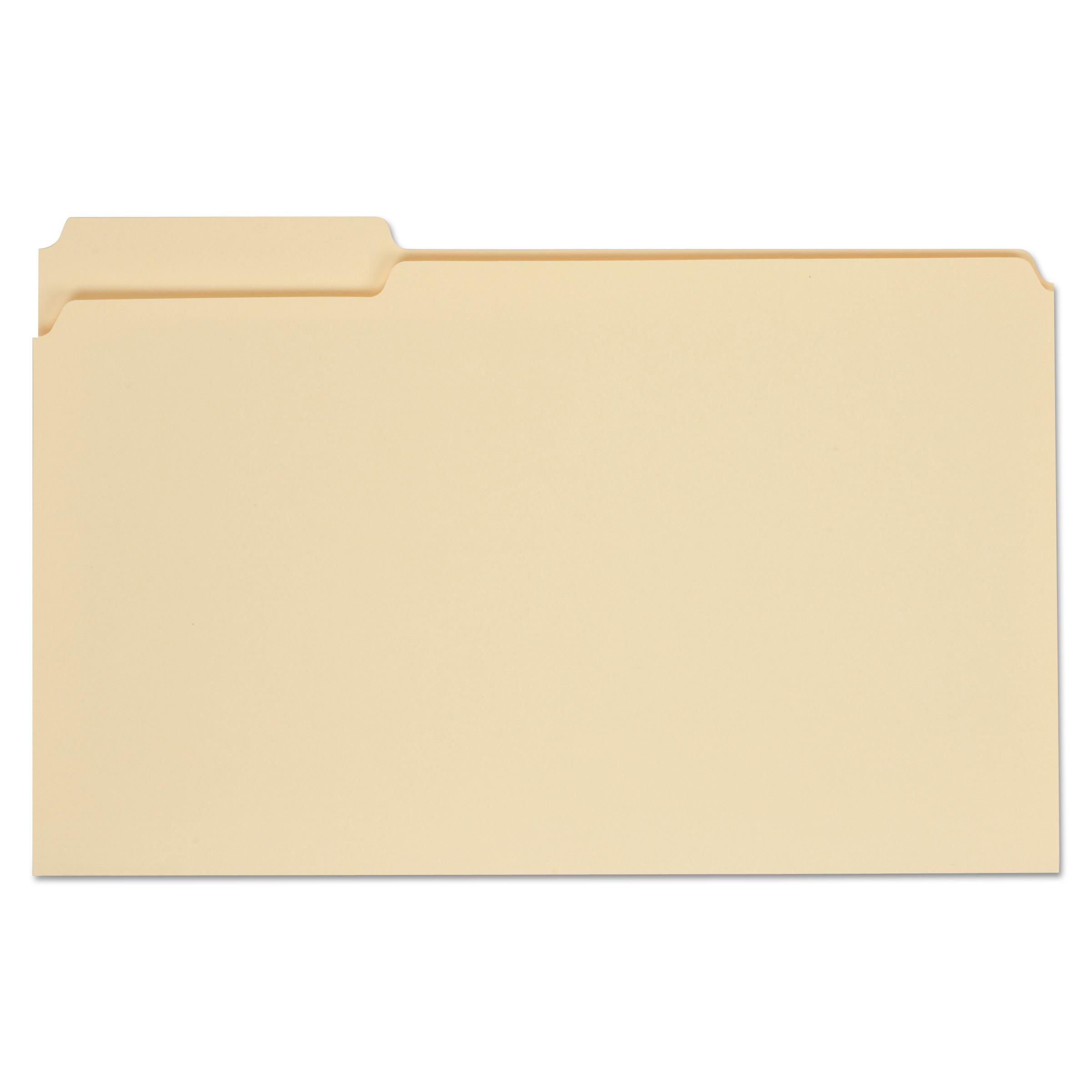 Top Tab Manila File Folders, 1/3-Cut Tabs, Assorted Positions, Legal Size, 11 pt. Manila, 100/Box