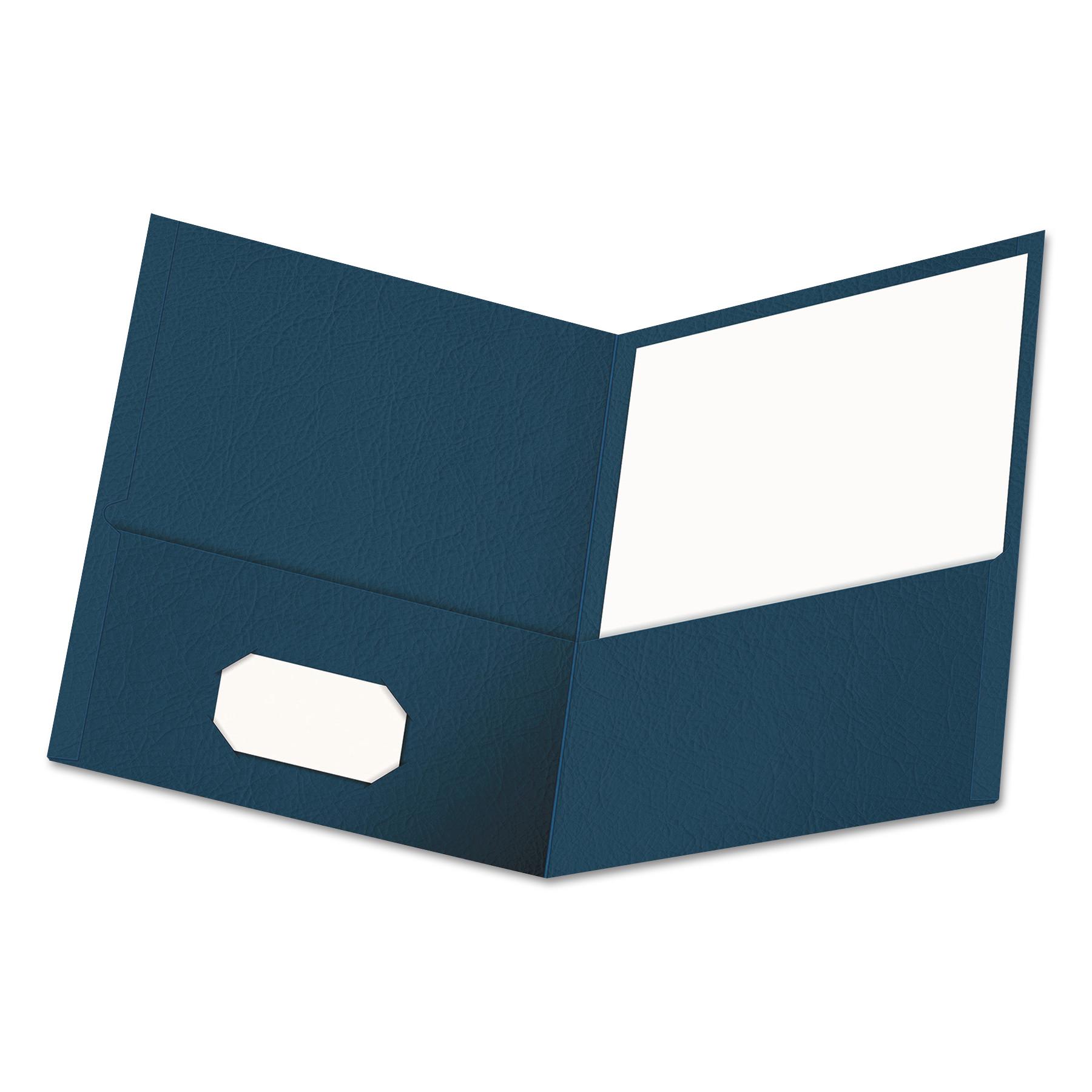 Two-Pocket Portfolio, Embossed Leather Grain Paper, Dark Blue, 25/Box