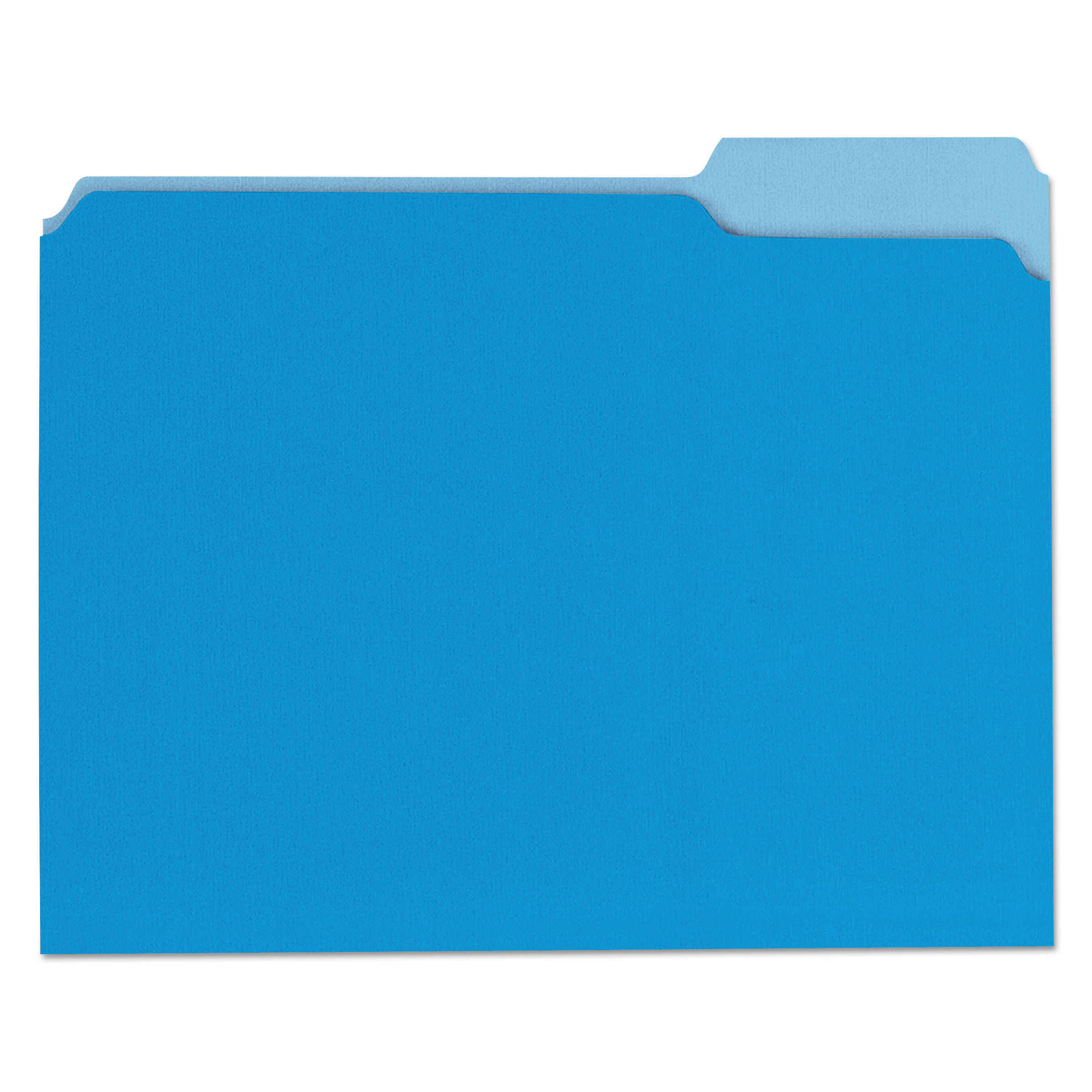 Deluxe Colored Top Tab File Folders, 1/3-Cut Tabs, Letter Size, Blue/Light Blue, 100/Box