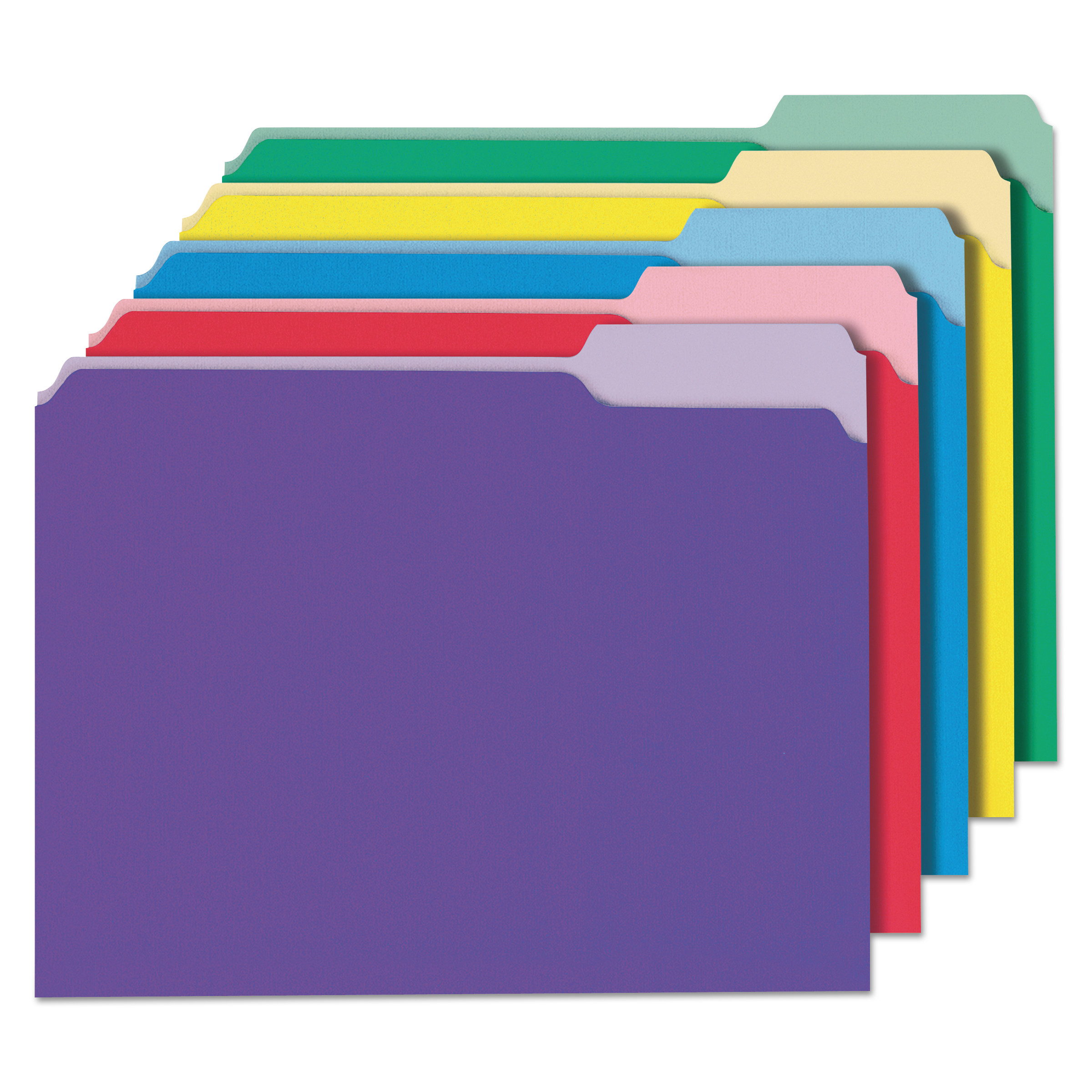 Deluxe Colored Top Tab File Folders, 1/3-Cut Tabs, Letter Size, Assorted, 100/Box