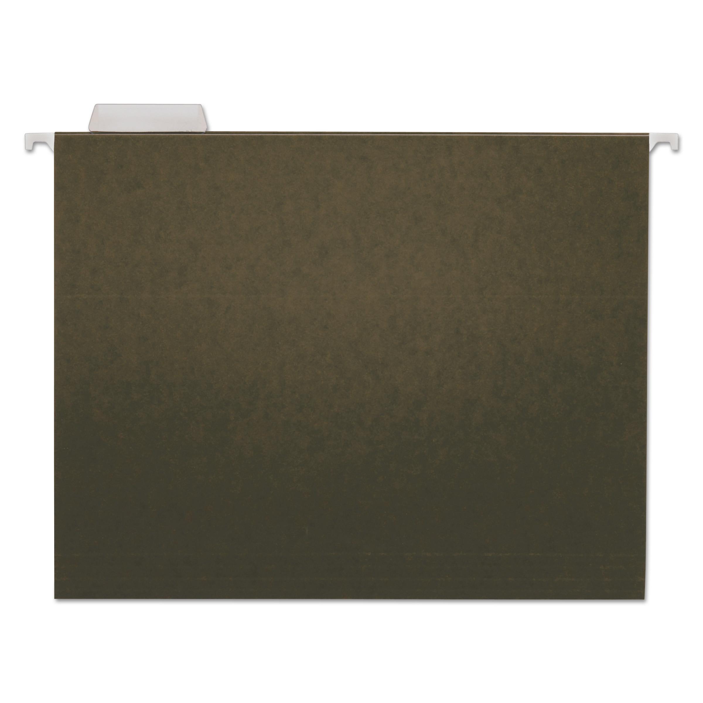 Hanging File Folders, Letter Size, 1/5-Cut Tab, Standard Green, 25/Box
