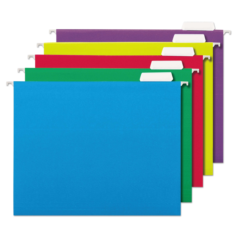 UNIVERSAL Hanging File Folder Plastic Index Tabs 1//3 Tab Cut 3 1//2 Tab Clear 25