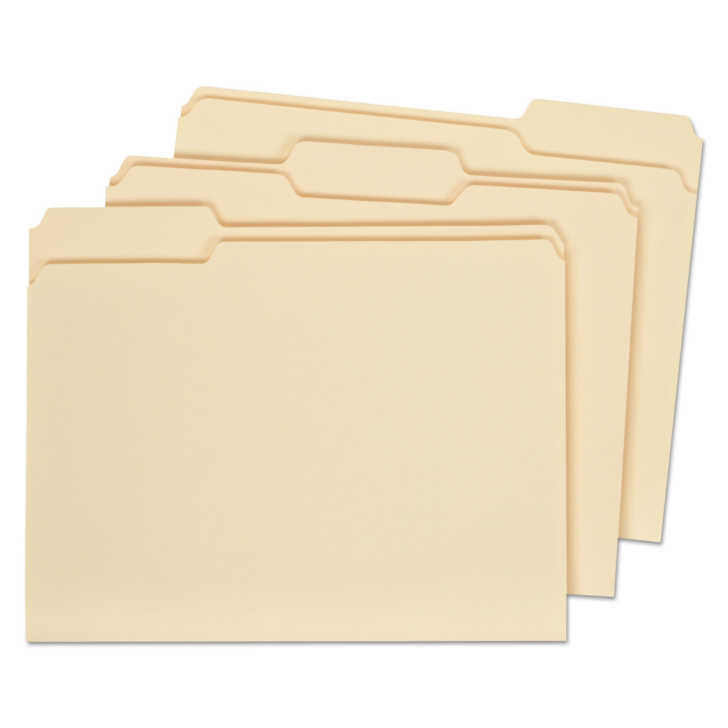 Double-Ply Top Tab Manila File Folders, 1/3-Cut Tabs, Letter Size, 100/Box