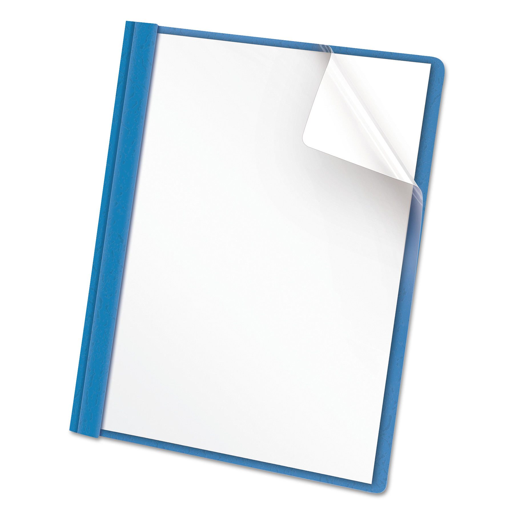 Clear Front Report Cover, Tang Fasteners, Letter Size, Light Blue, 25/Box